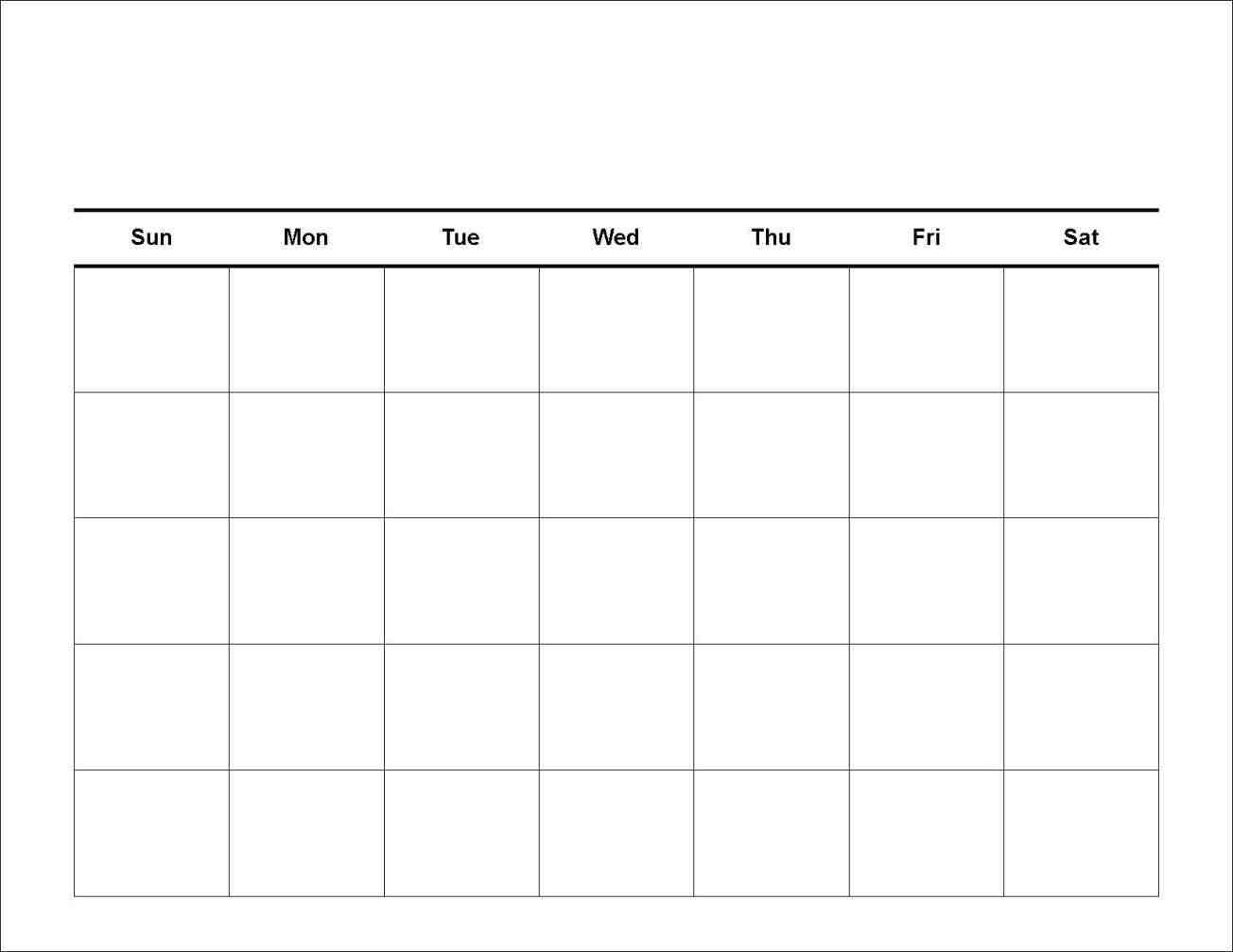 7 Day Calendar Template | Printable Calendar Grid Free