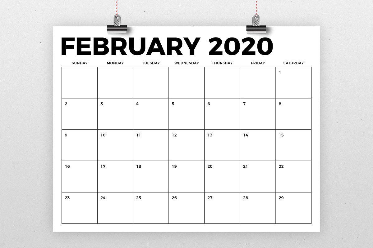 8.5 X 11 Inch Bold 2020 Calendar | Calendar Template Blank