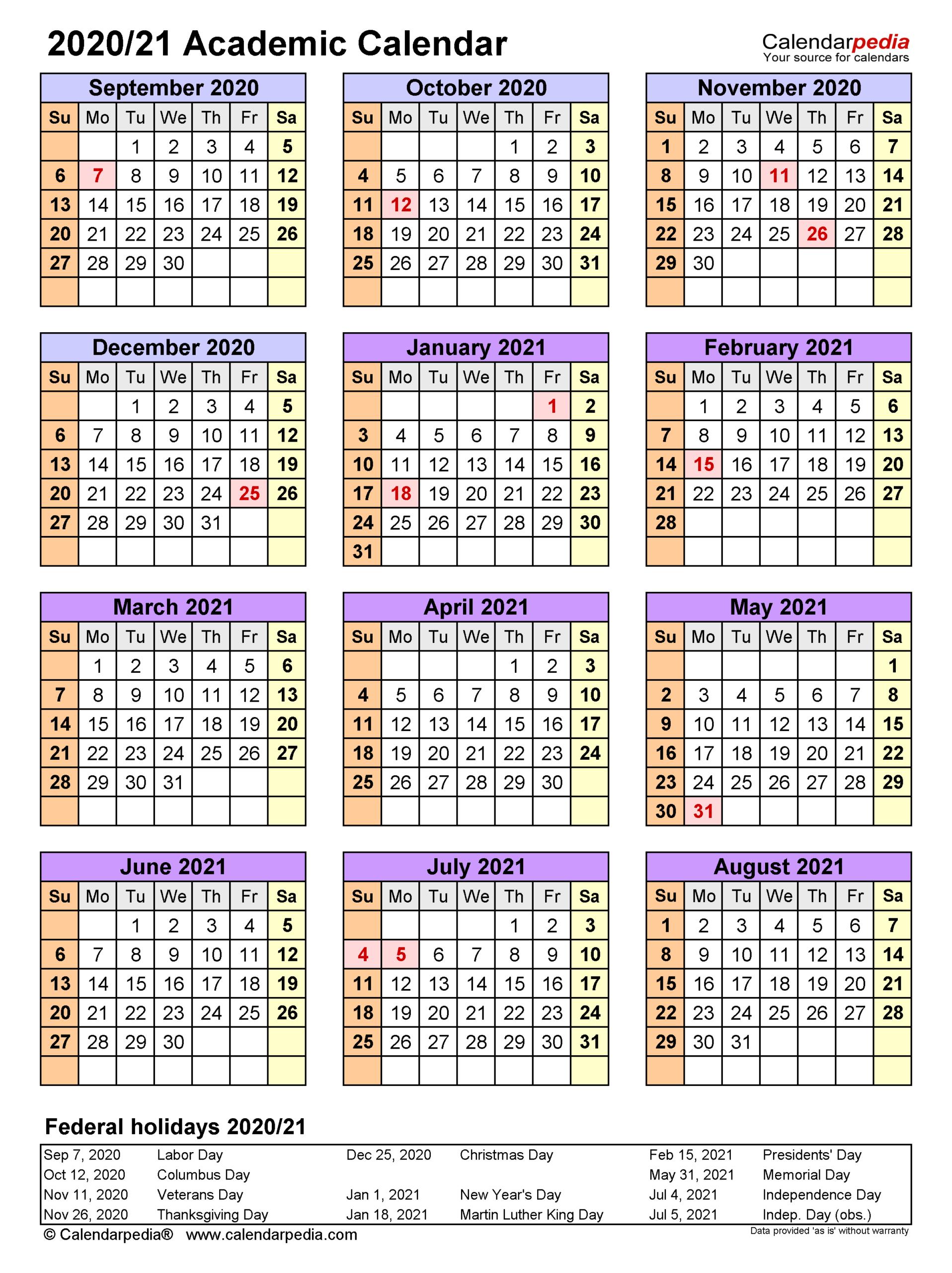 Academic Calendars 20202021 - Free Printable Word Templates