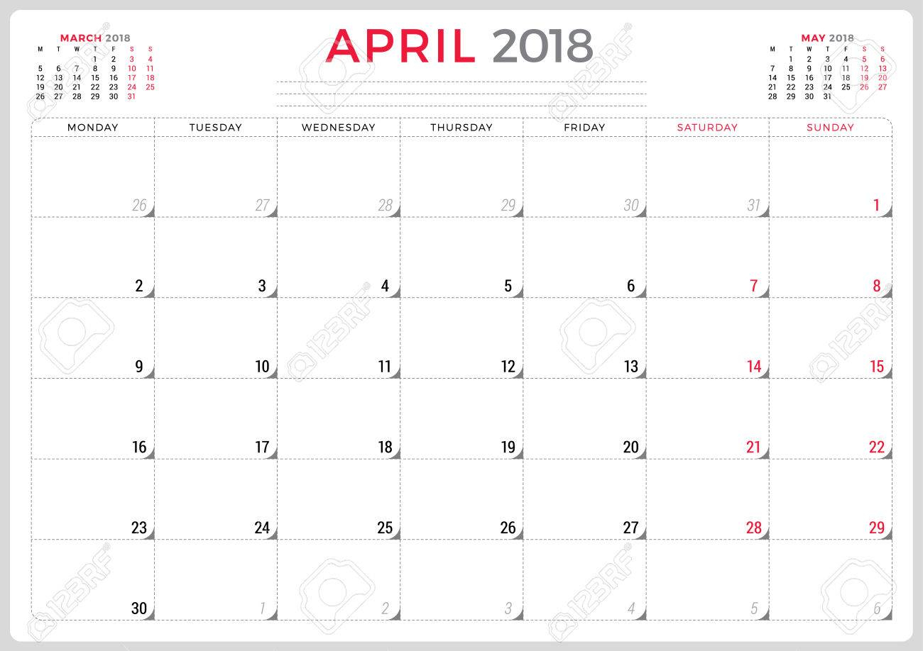 April 2018. Calendar Planner Design Template. Week Starts On..
