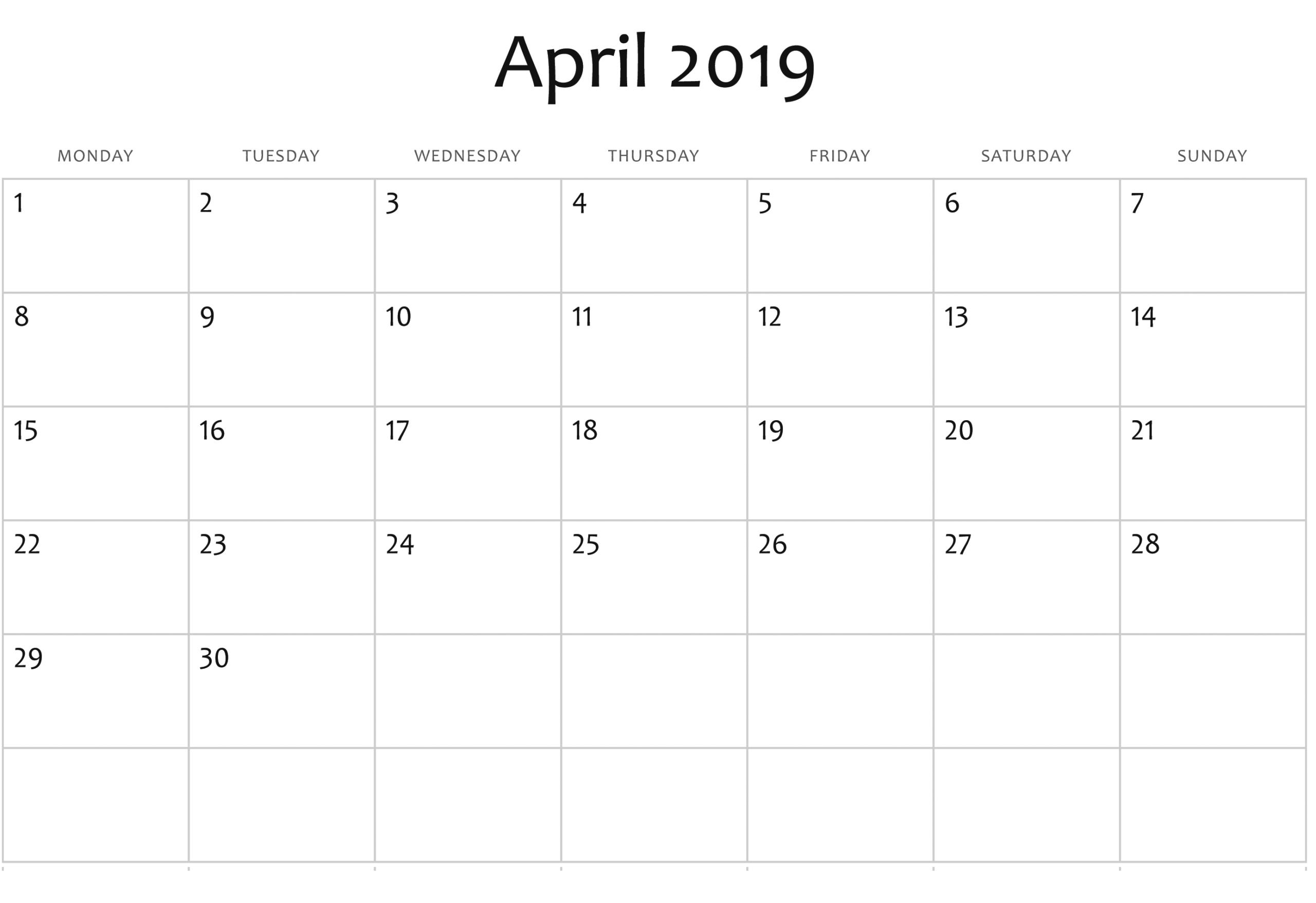 April 2019 Blank Calendar | Editable Calendar Calendar