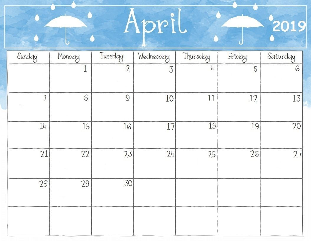 April 2019 Calendar Printable Template Editable Blank Pdf