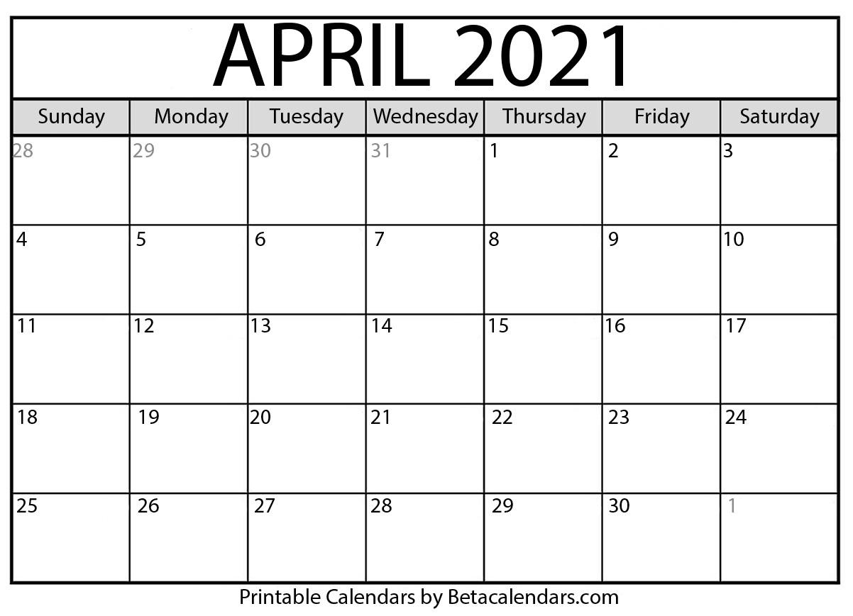 April 2021 Calendar | Blank Printable Monthly Calendars