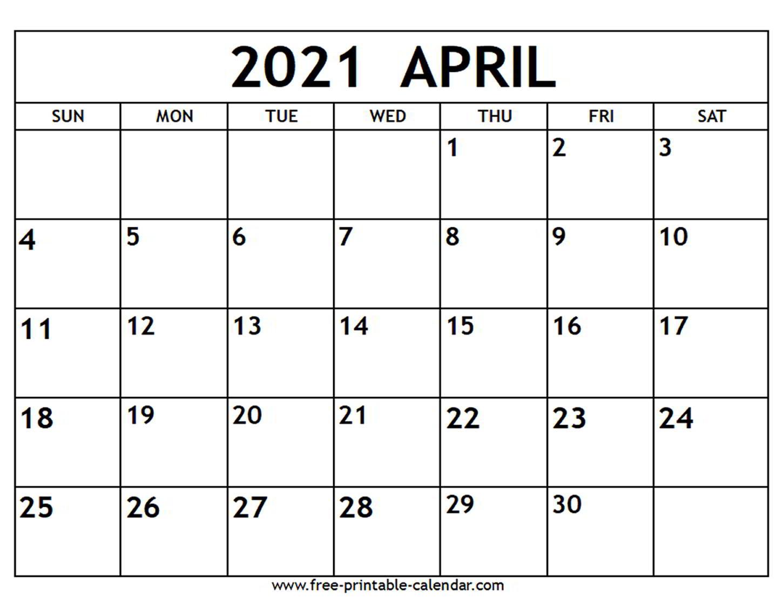 April 2021 Calendar - Free-Printable-Calendar