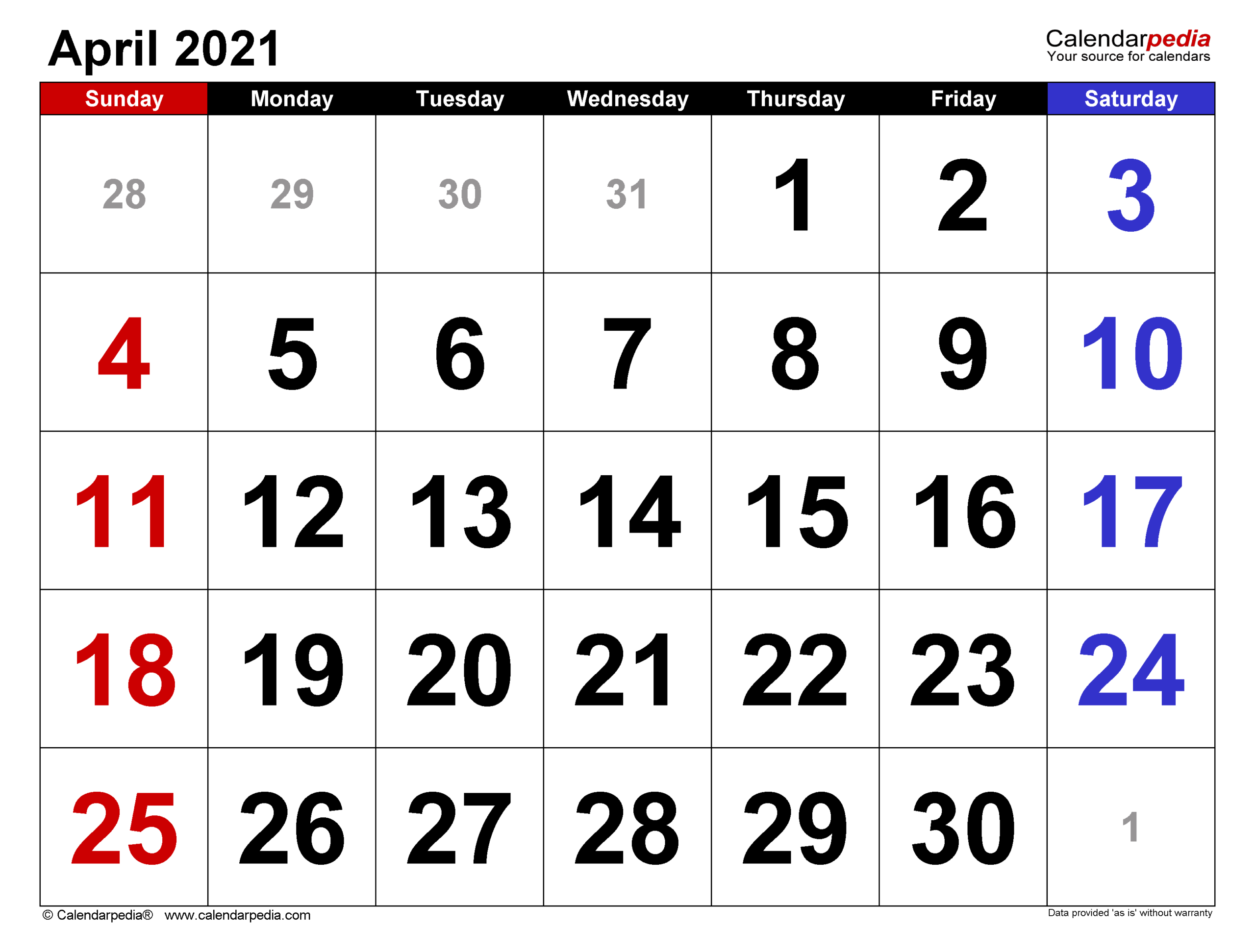 April 2021 Calendar | Templates For Word Excel And Pdf
