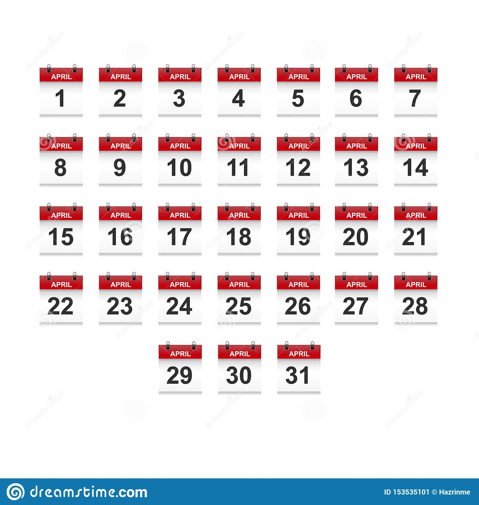 April Calendar 1-31 Illustration Vector Art Stock Vector