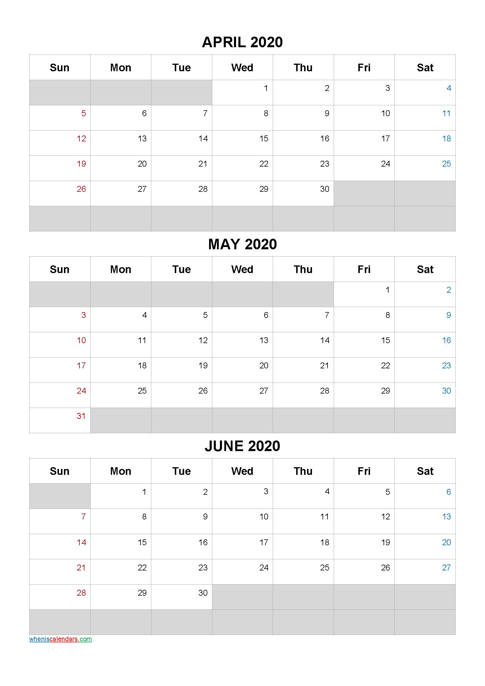 April May June 2020 Free Printable 3 Month Calendar-20Ar5