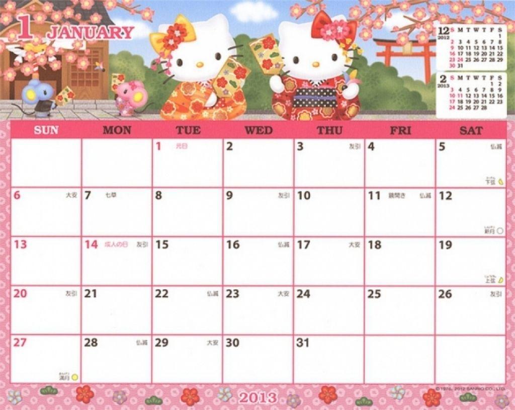 August 2018 Calendar Printable Hello Kitty | 2019 Calendar
