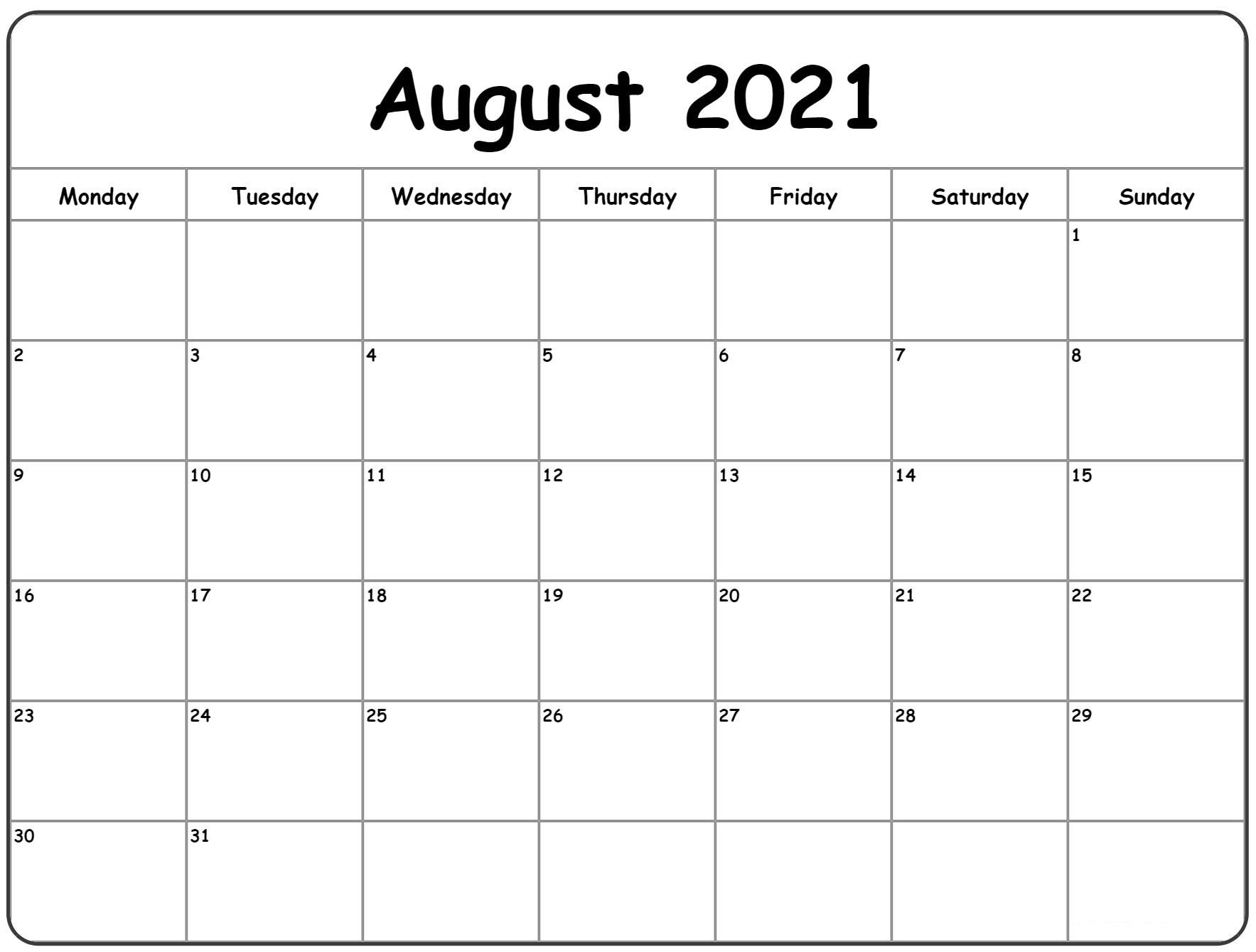 August 2021 Calendar New Excel Word Pdf Template - Printable