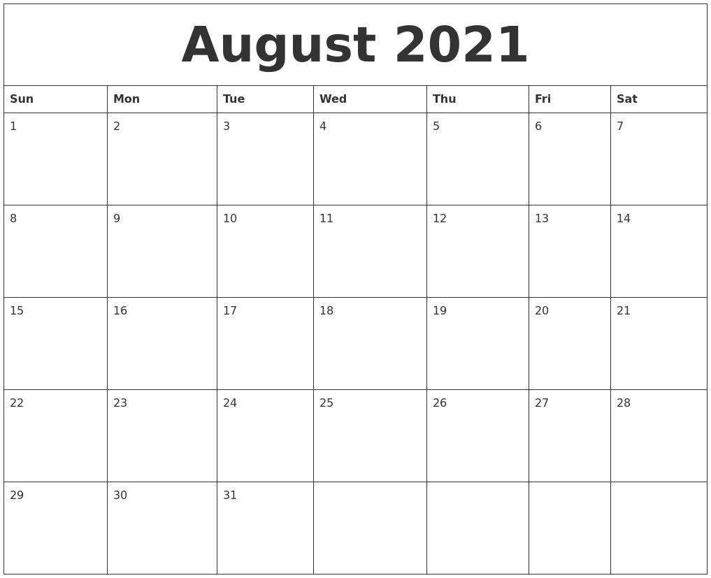August 2021 Online Calendar Template