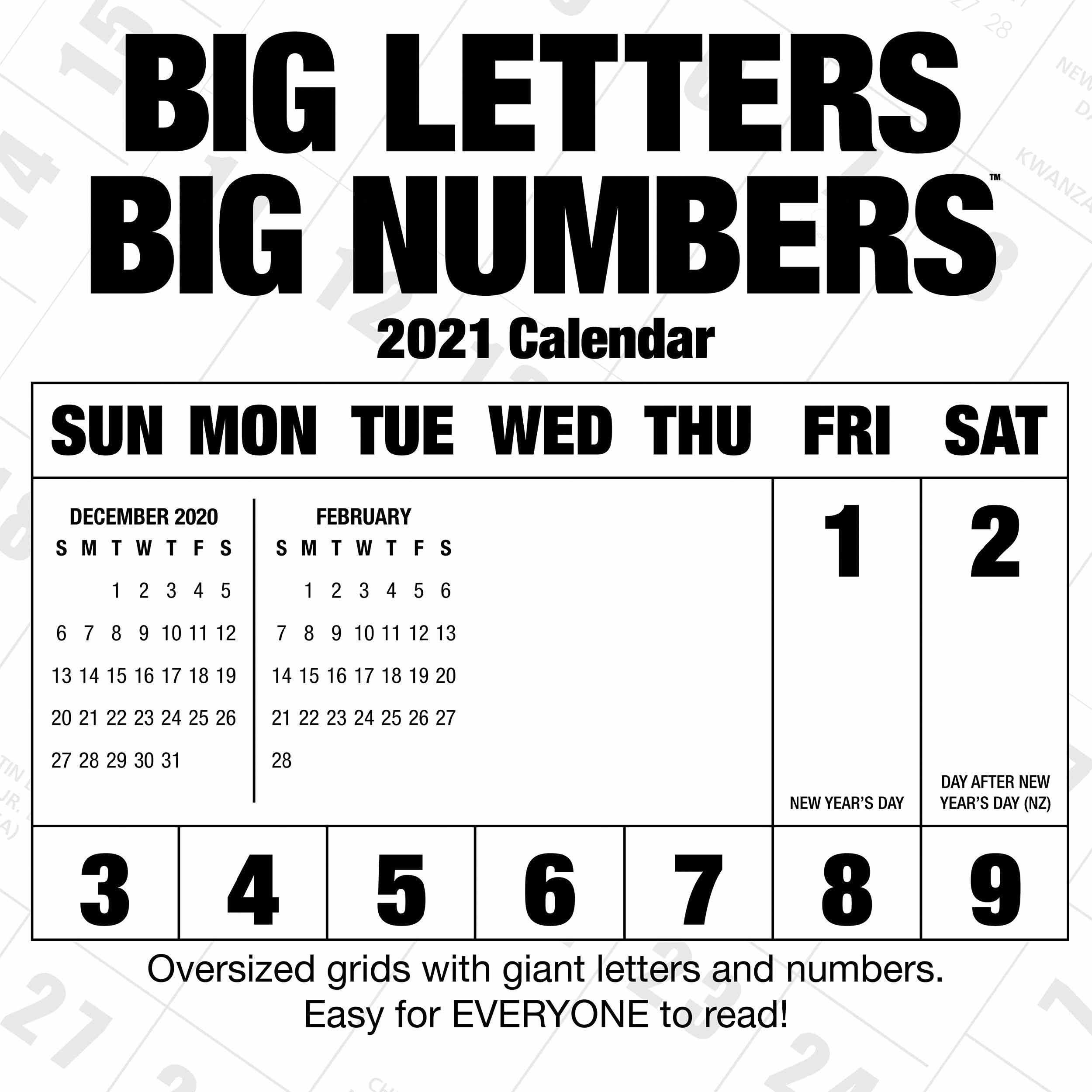 Big Letters Big Numbers Calendar 2021 At Calendar Club