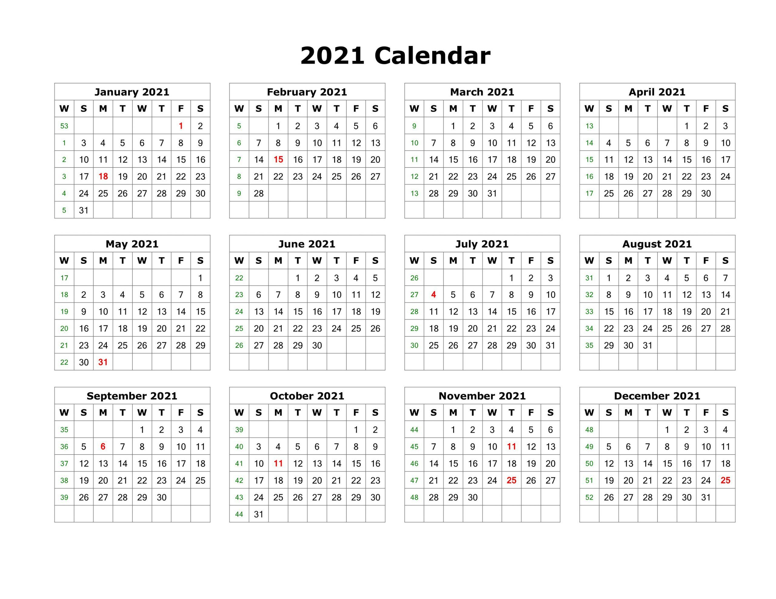 Blank Calendar Template Word 2021 Various Months In 2020