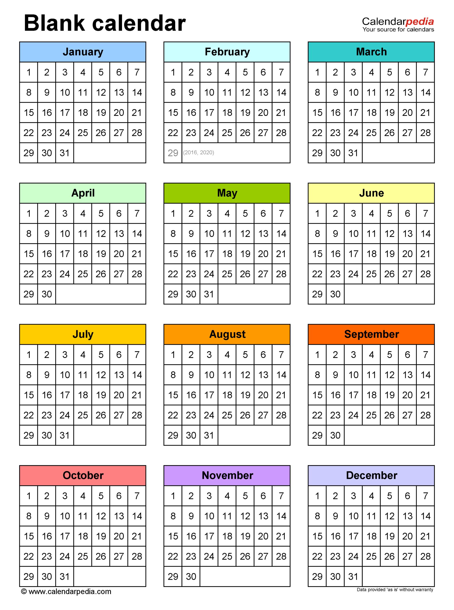 Blank Calendars - Free Printable Microsoft Excel Templates