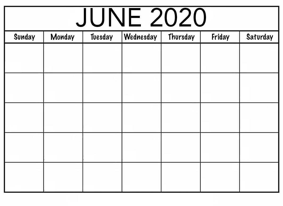 Blank June 2020 Calendar — Printable Monthly |