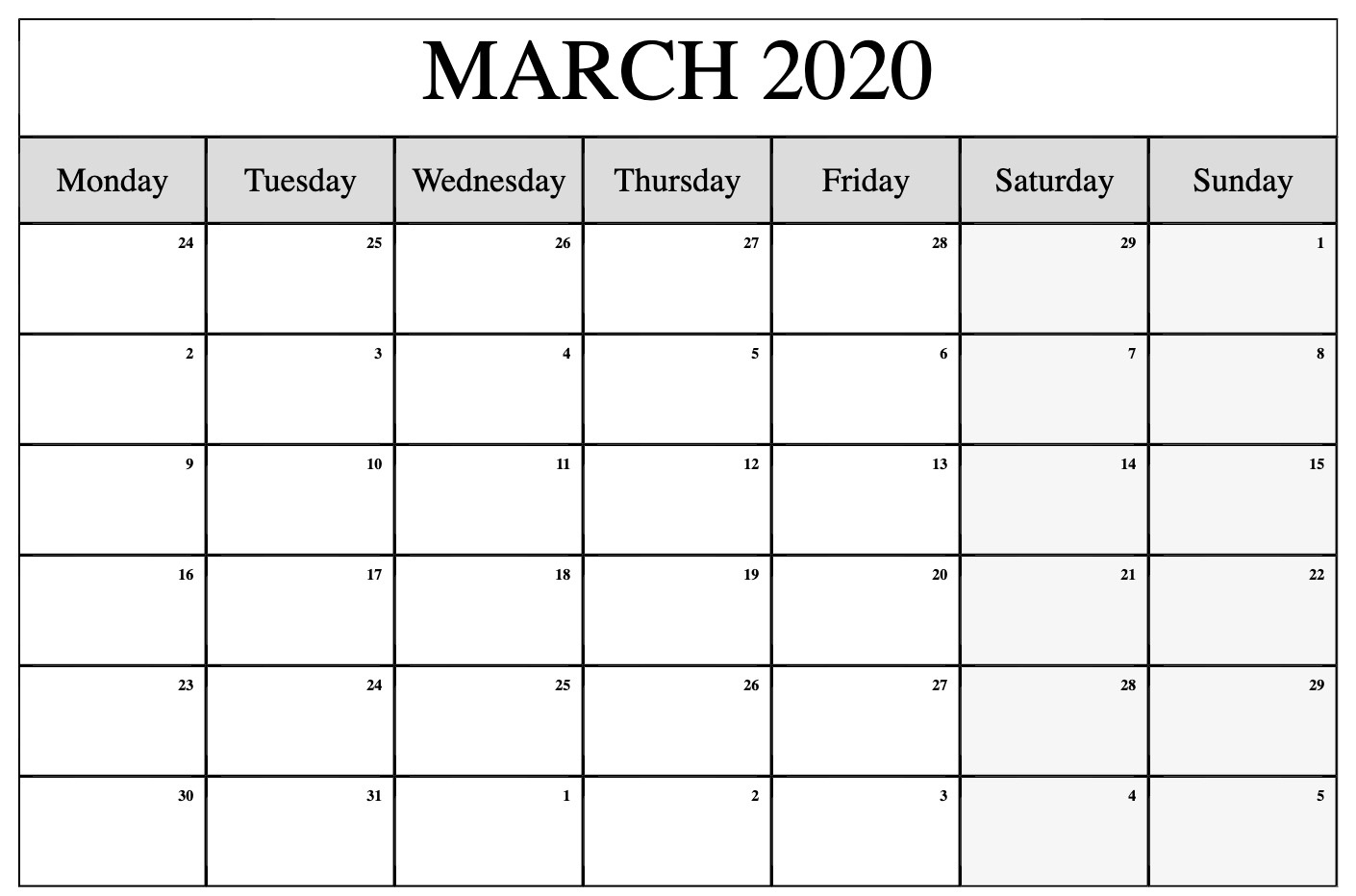 Blank March 2020 Calendar – Record Your Personal Activities