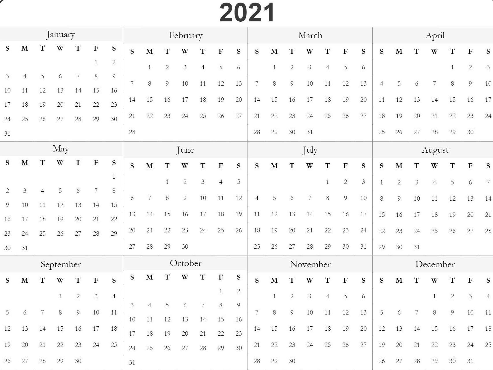 Blank Printable 2021 Calendar Template In 2020   Free