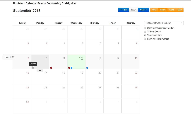 Bootstrap Calendar Events Demo Using Codeigniter - Roy Tutorials