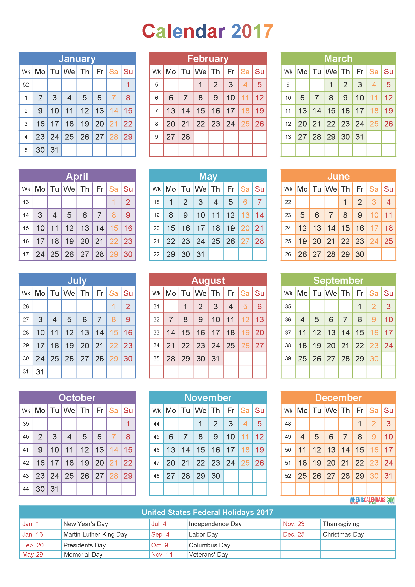 Calendar 2017Week Number | Yearly Calendar Template