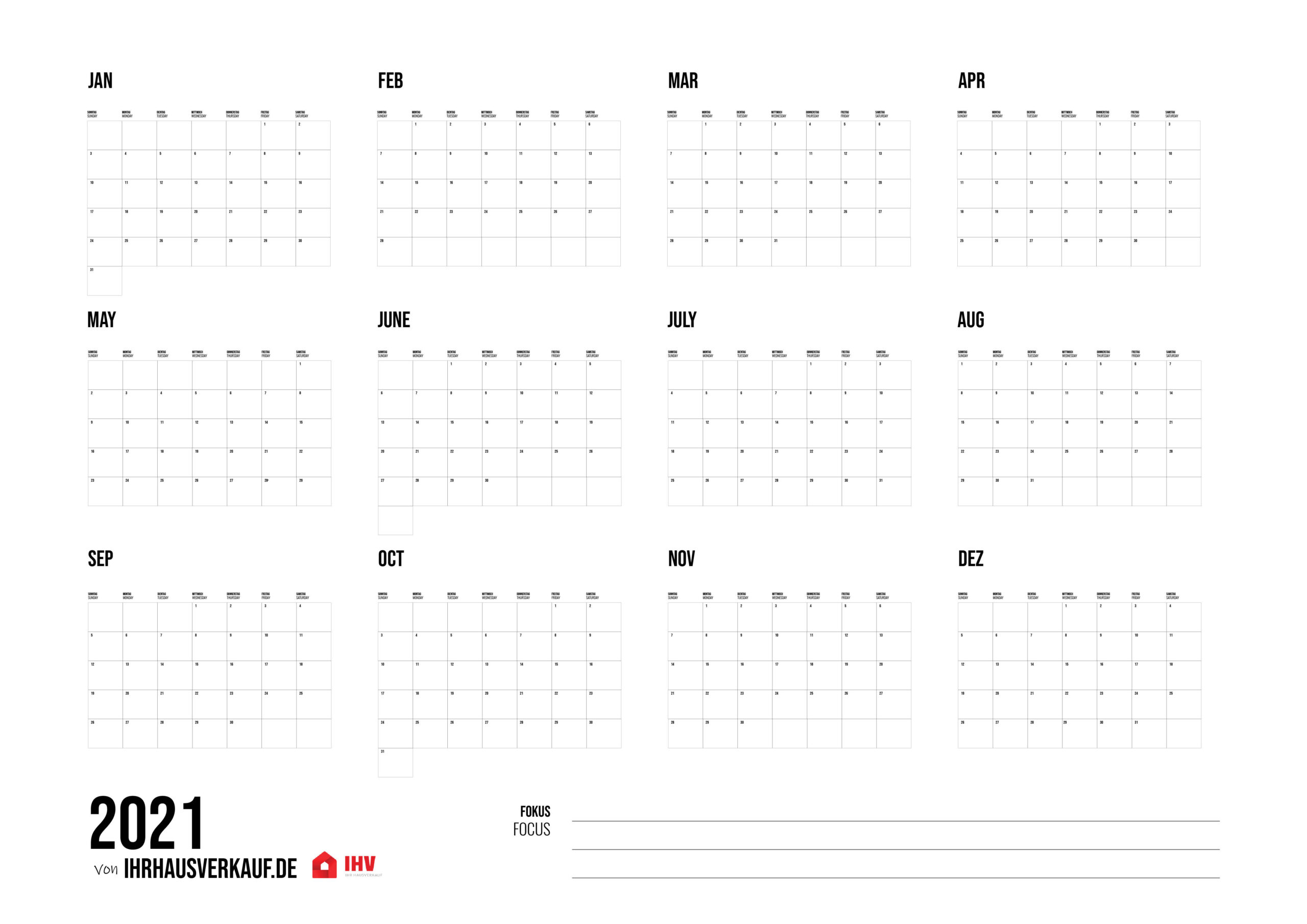 Calendar 2021 For Printing: All Months And Weeks As Pdf (12+