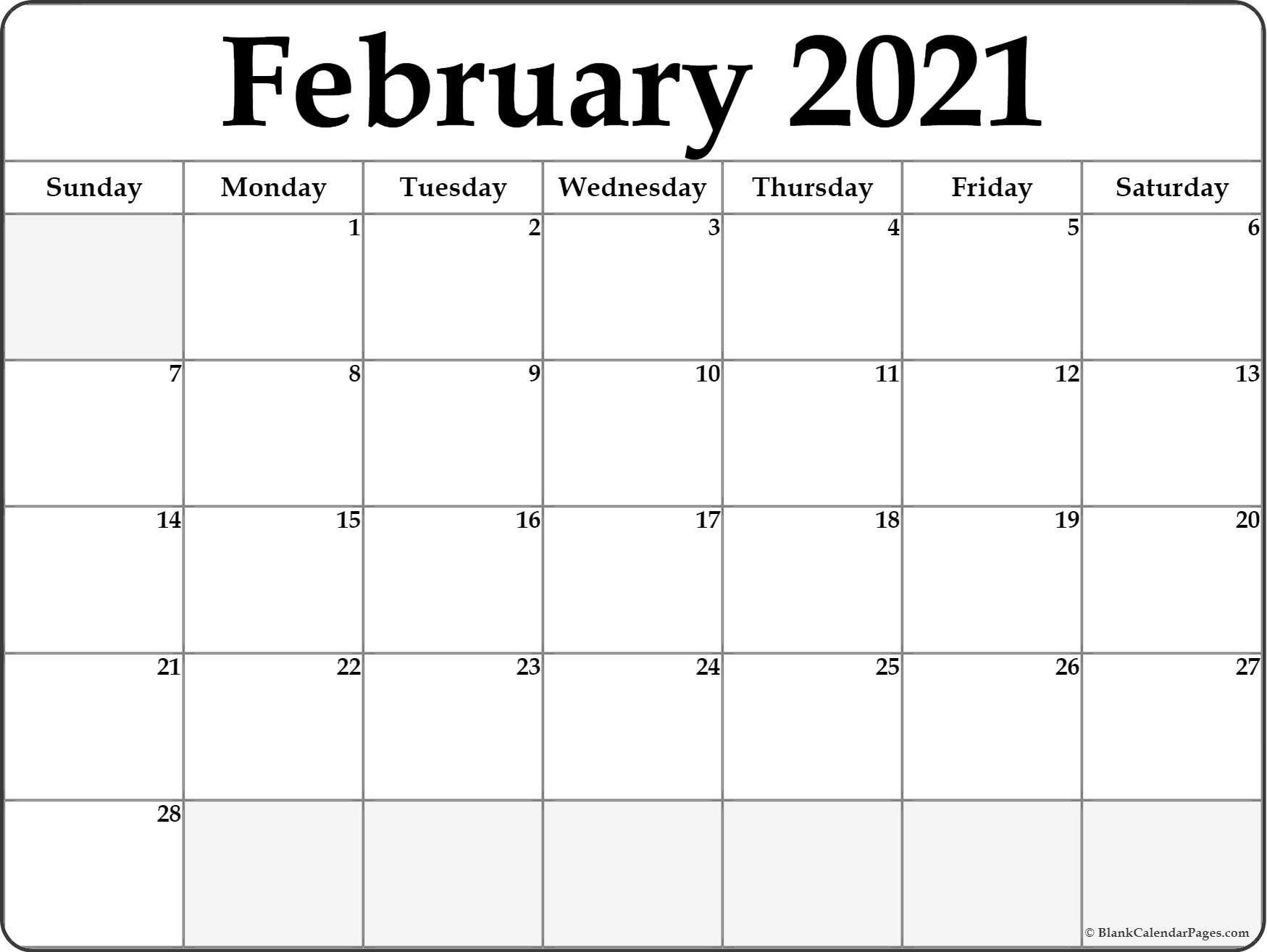 Calendar 2021 January February Blank In 2020   February