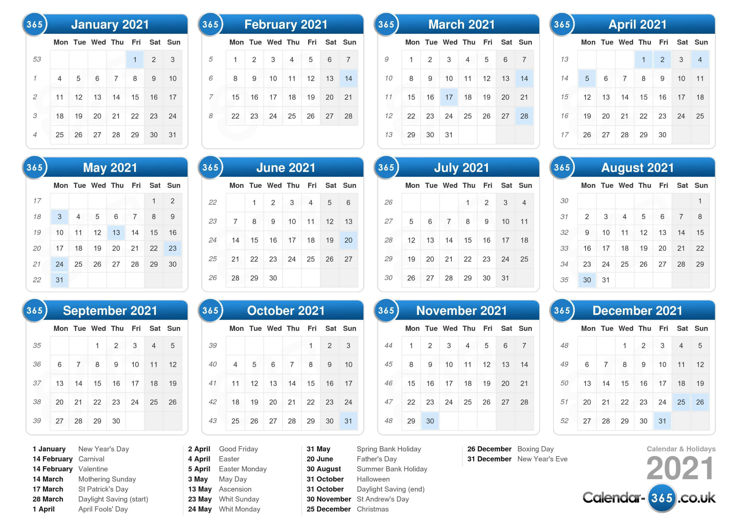 Uk 2021 Calendar With Week Numbers