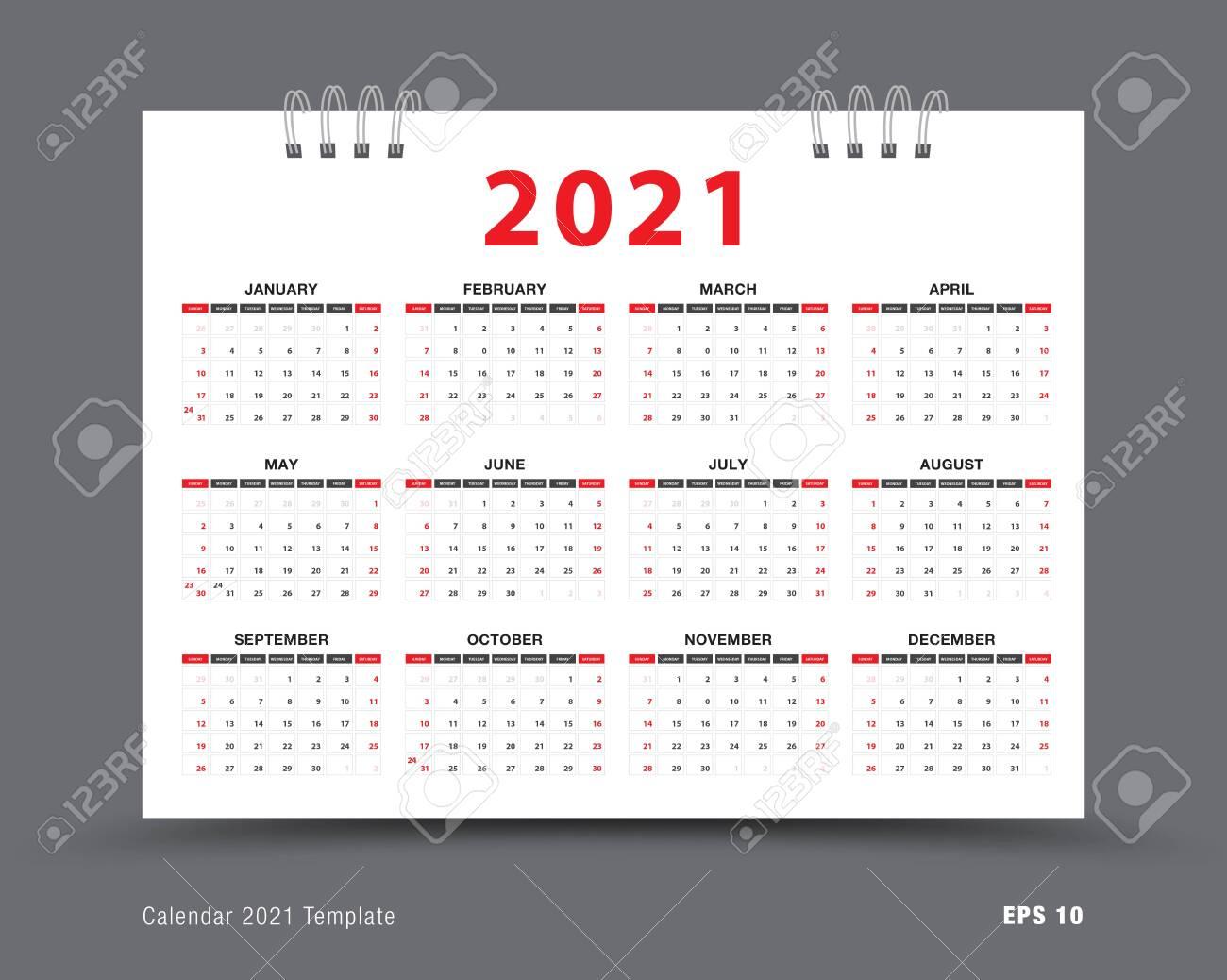 Calendar 2021 Template Layout 12 Months Yearly Calendar Set..