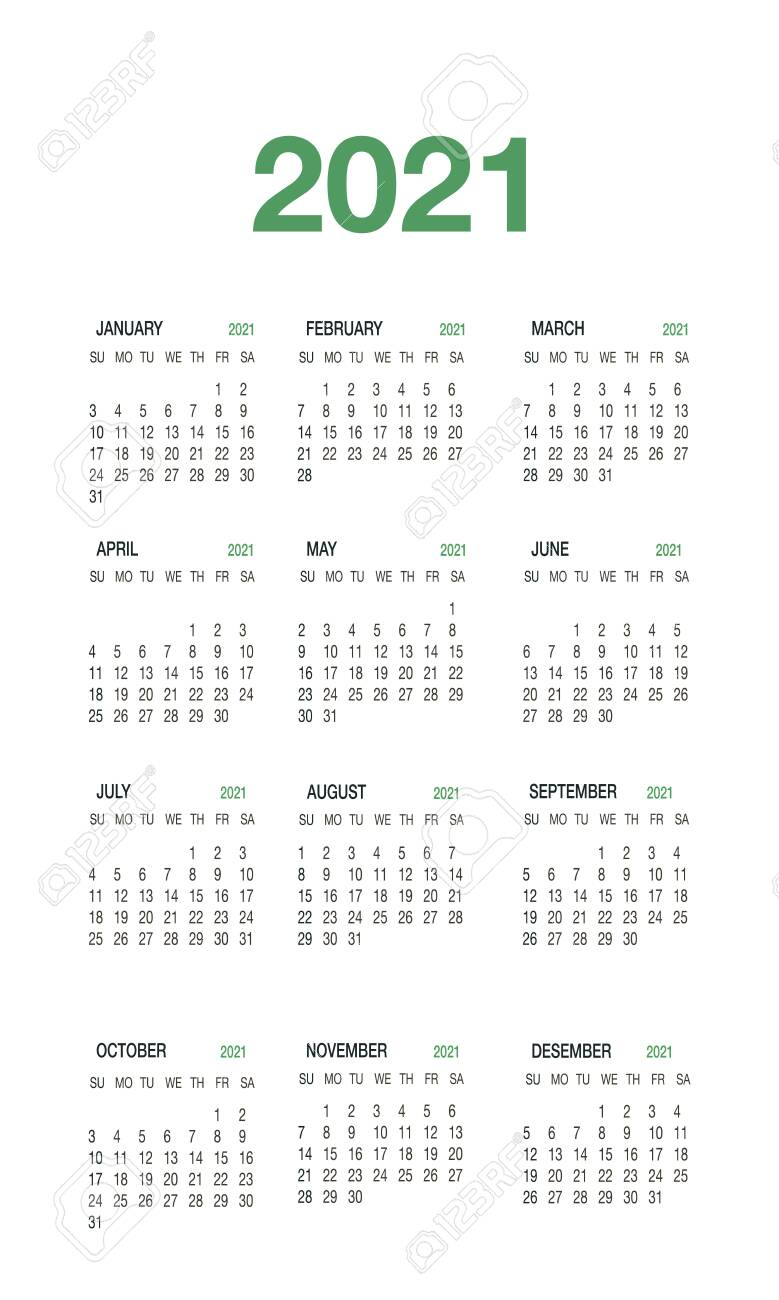 Calendar 2021 Template Planner In Minimal Style.12-Month Annual..