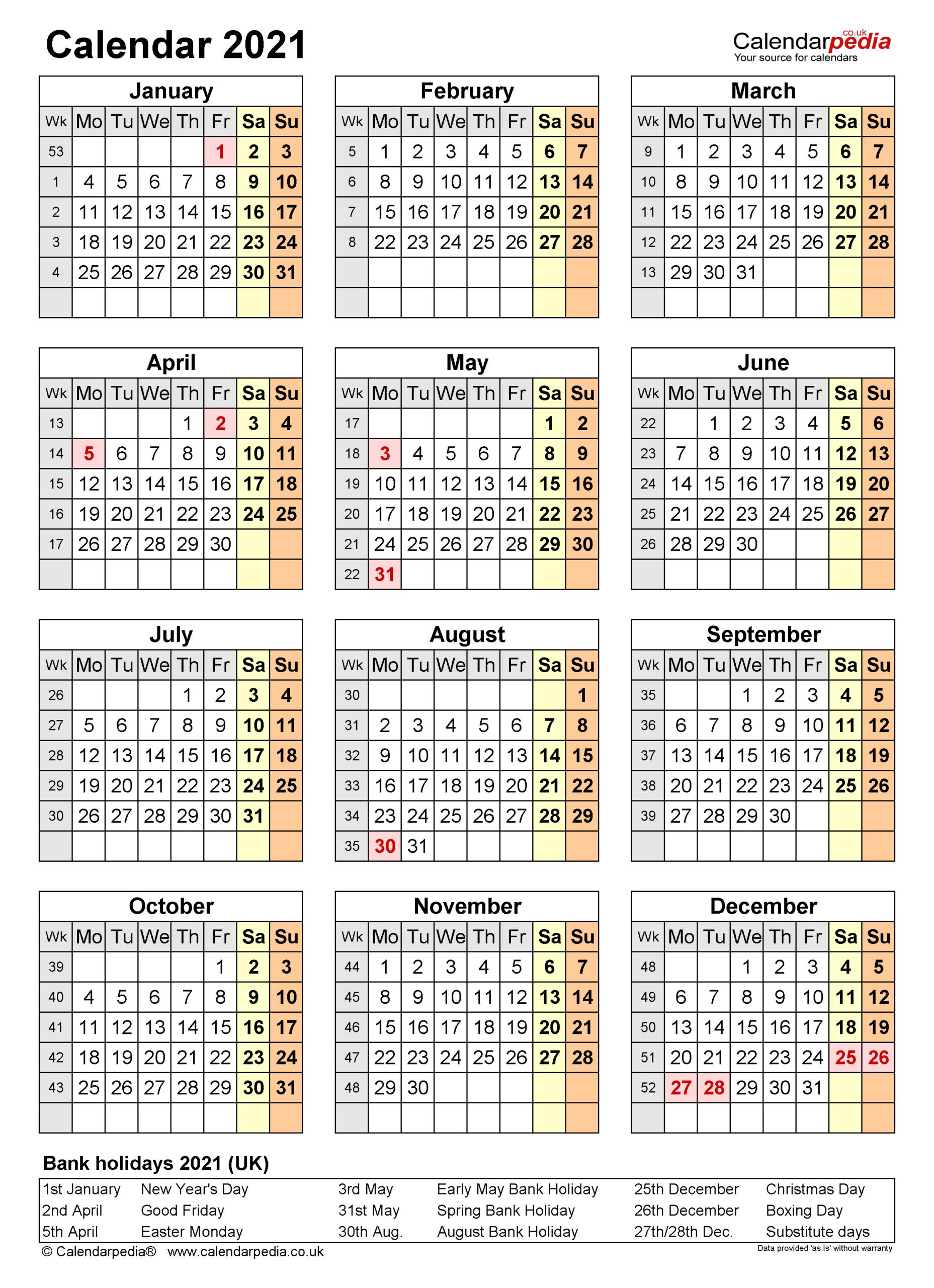 Calendar 2021 (Uk) - Free Printable Pdf Templates