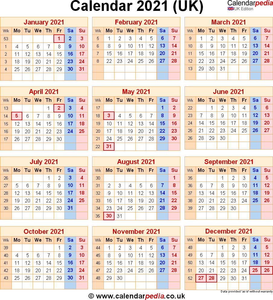 Calendar 2021 Uk With Bank Holidays & Excelpdfword Templates
