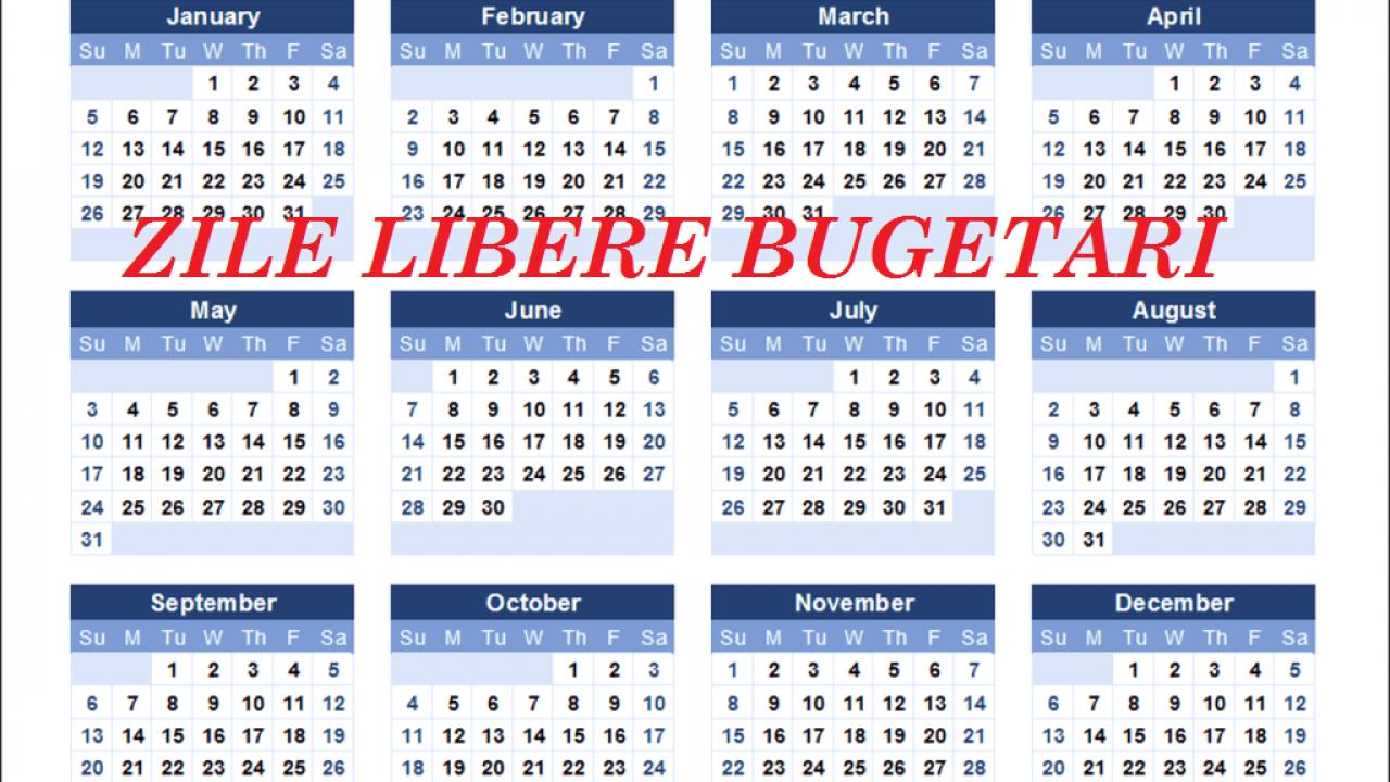 Calendar Cu Zile Libere Legale 2020