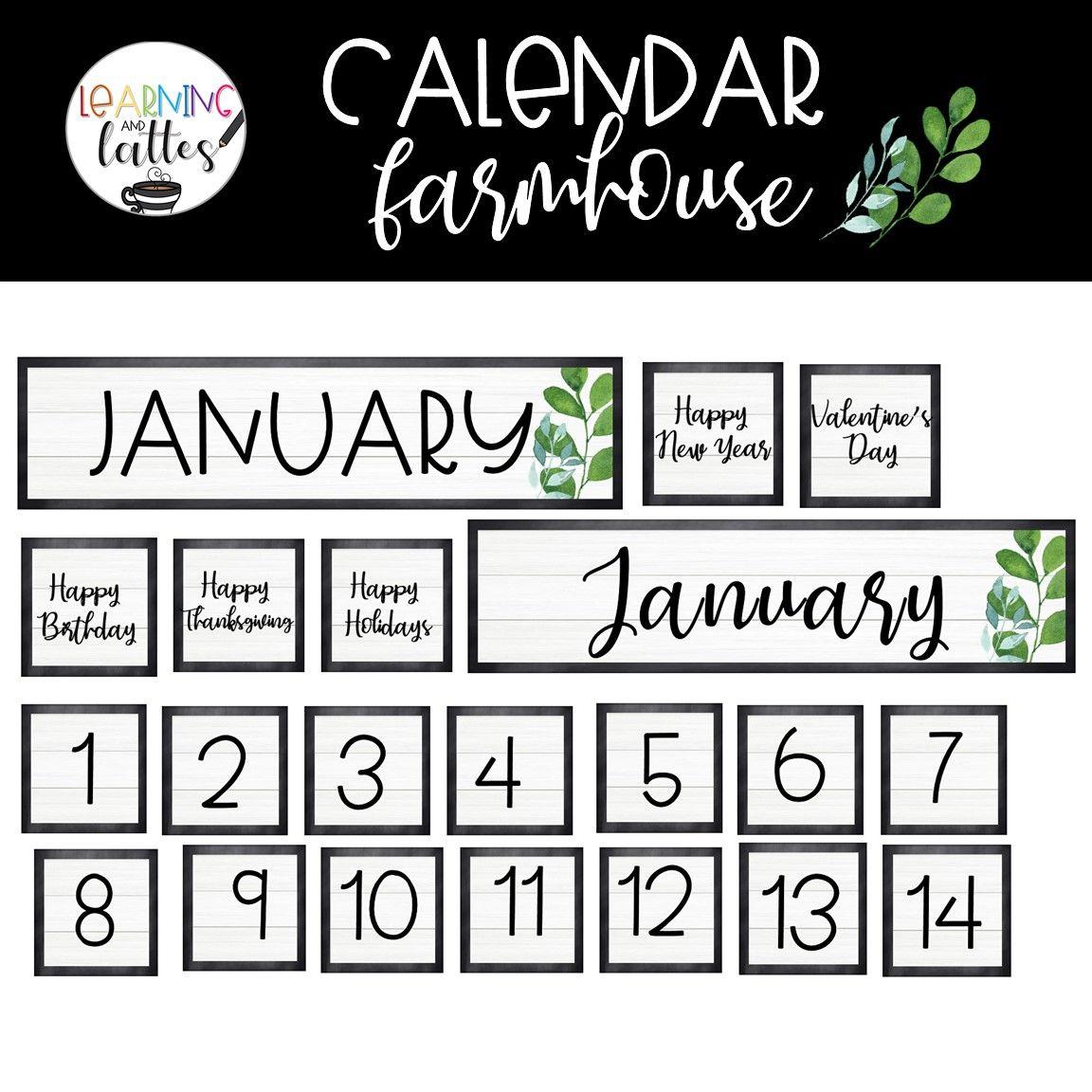 Calendar: Farmhouse In 2020 | Calendar Pocket Chart Happy Year