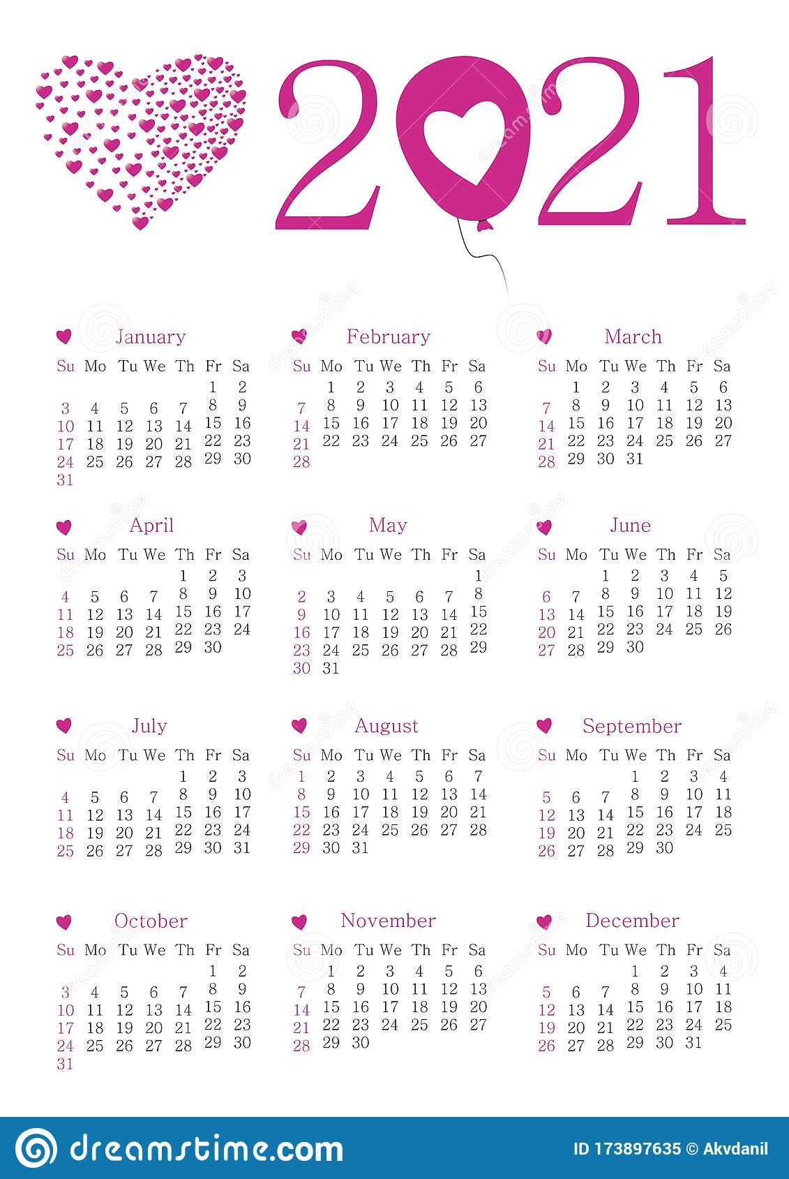 Calendar For 2021 Stock Vector. Illustration Of Championship