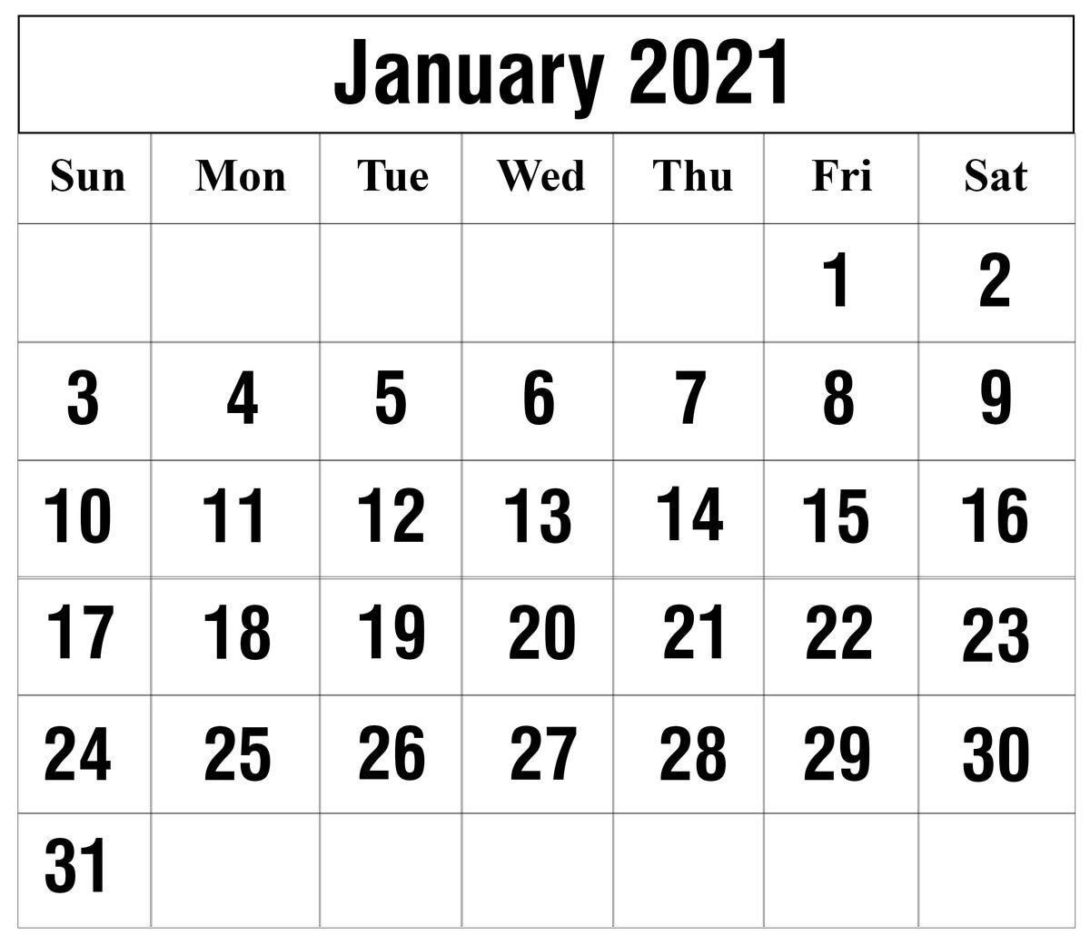 Calendar For January 2021 Project In 2020 | Calendar