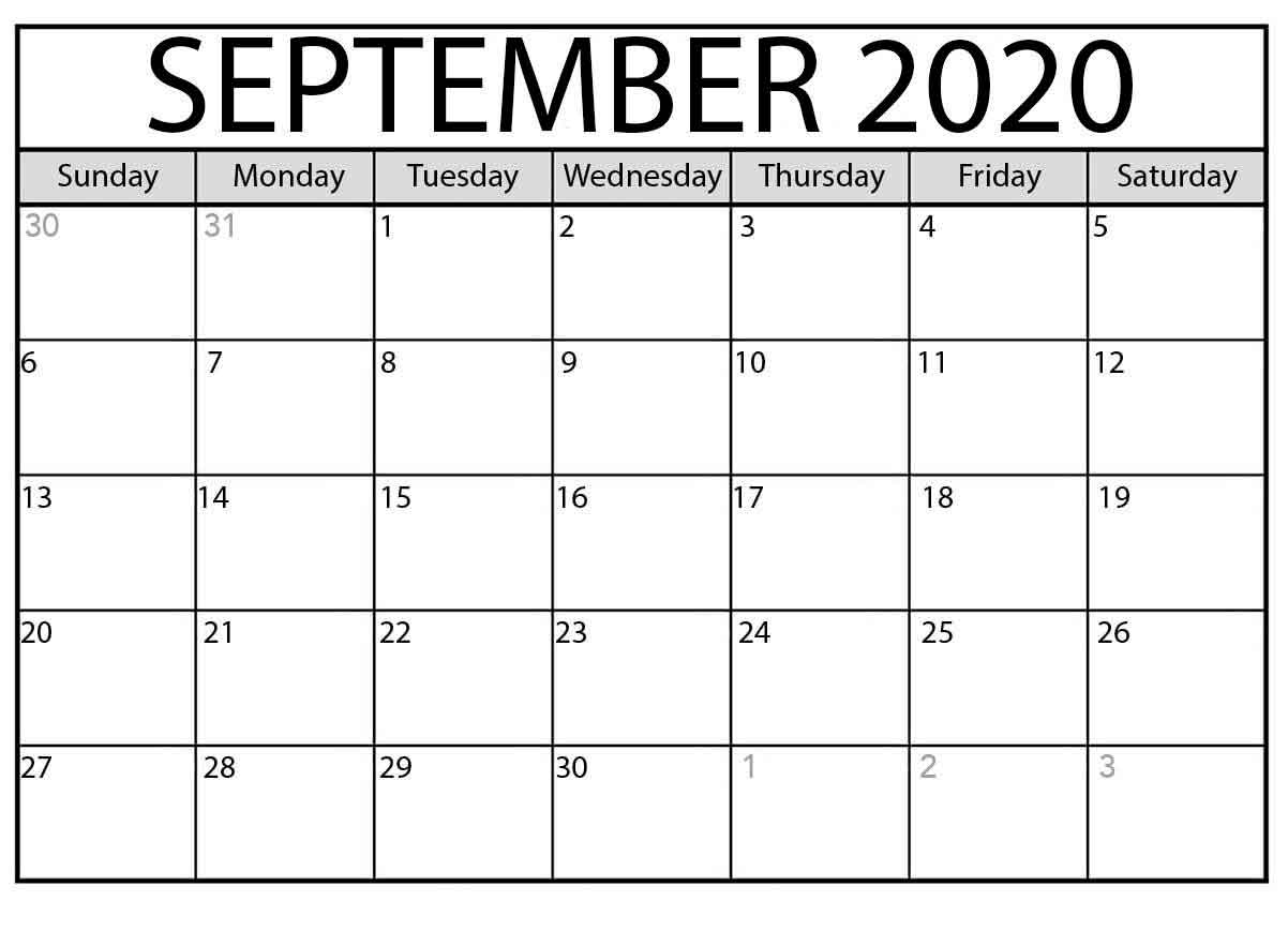 Calendar Month Of September 2020 Free Printable Calendar