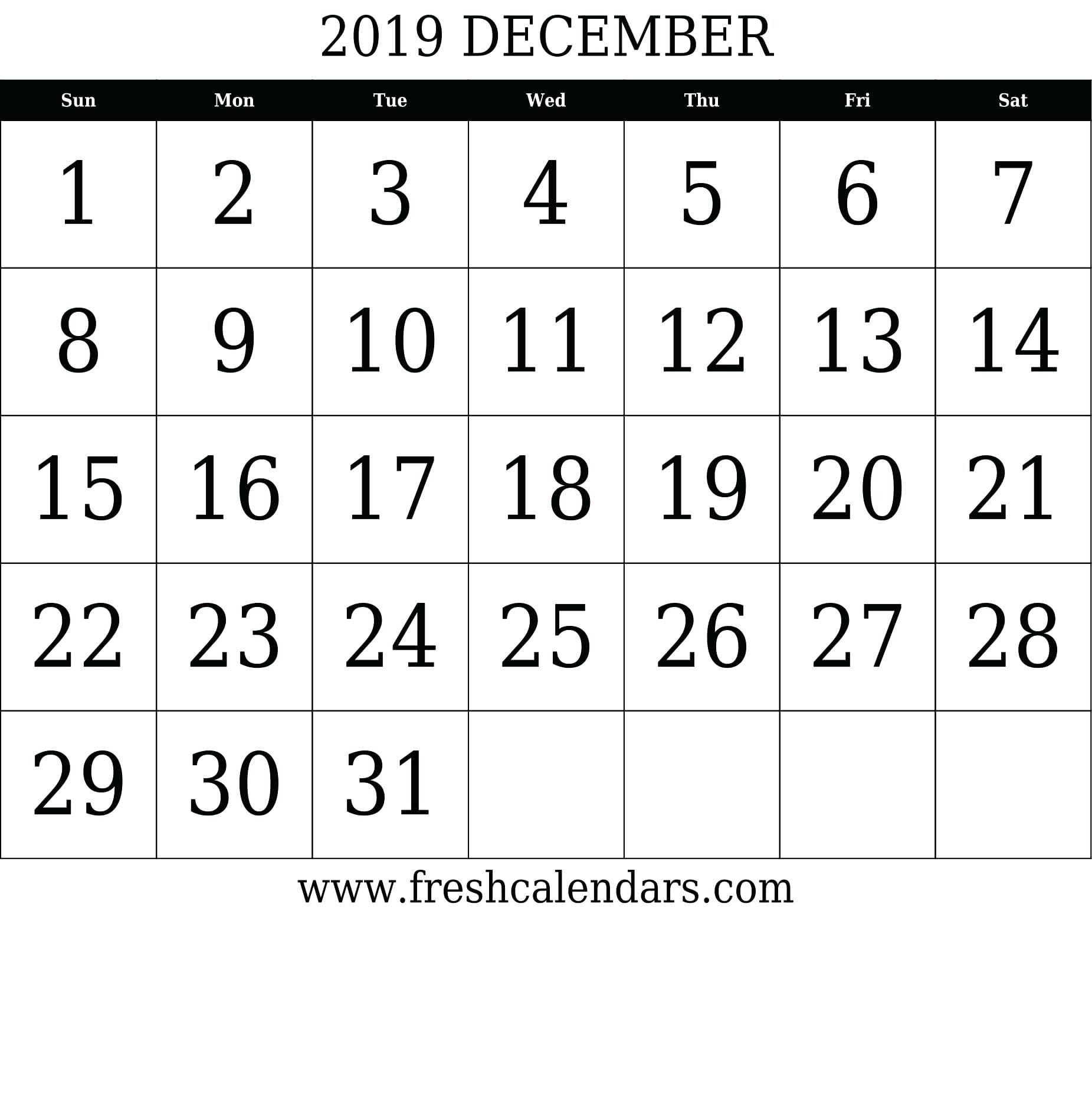 Calendar Numbers 1-31 To Print | Blank Calendar Template