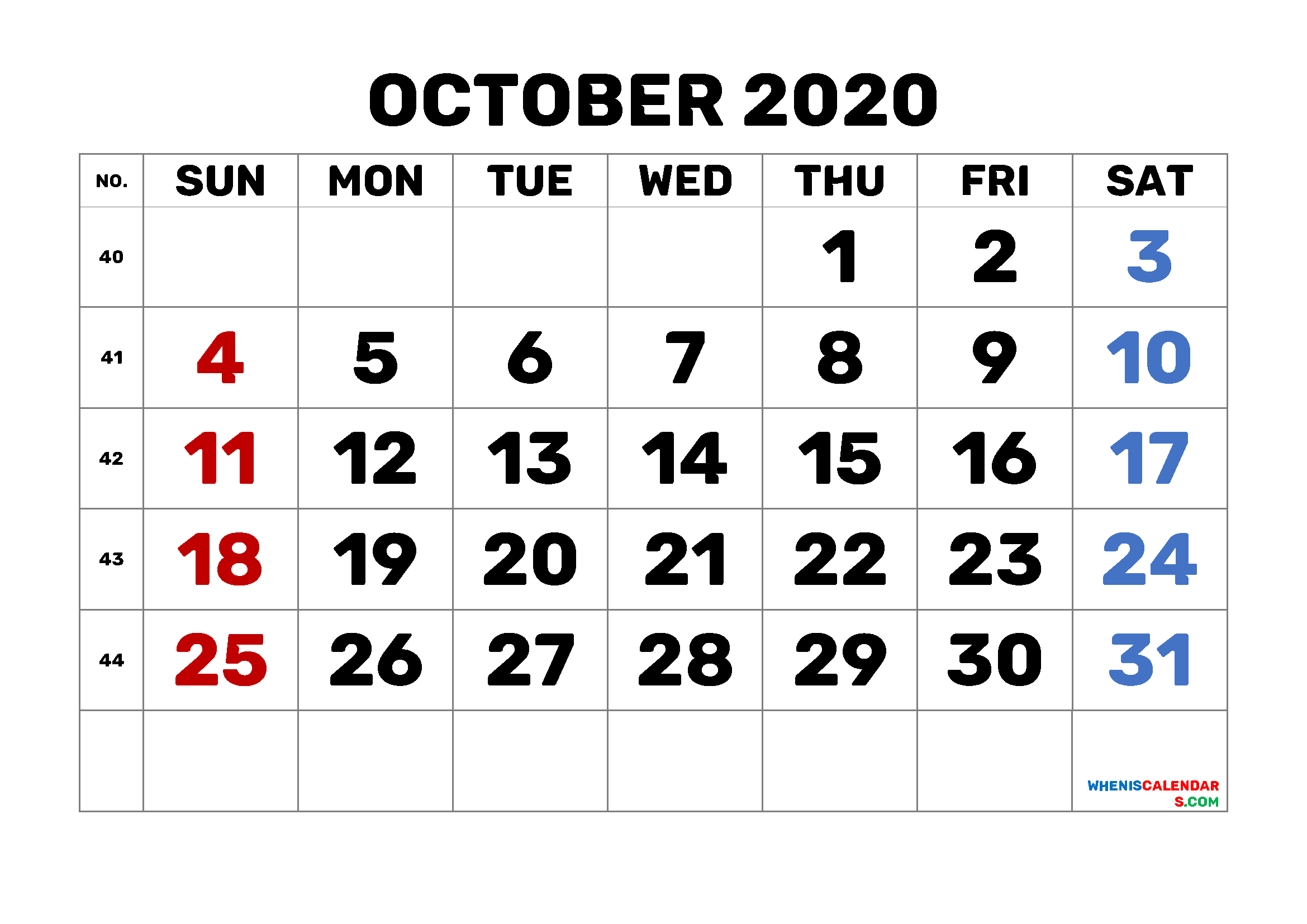 Calendar October 2020 Printable Free 6 Templates