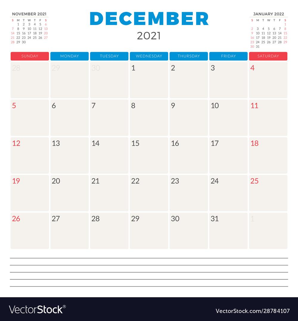 Calendar Planner For December 2021 Week Starts On Vector Image