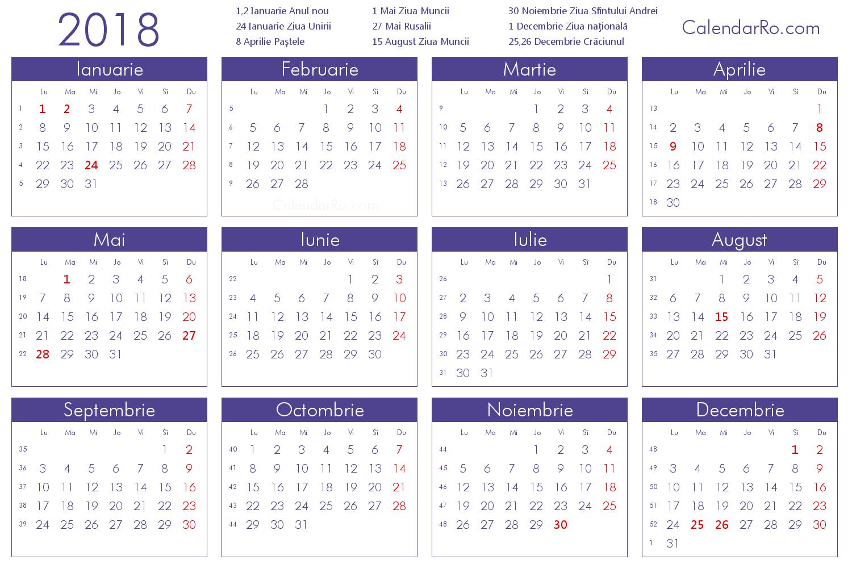 Calendar Romania 2018 | Printable Calendar Template