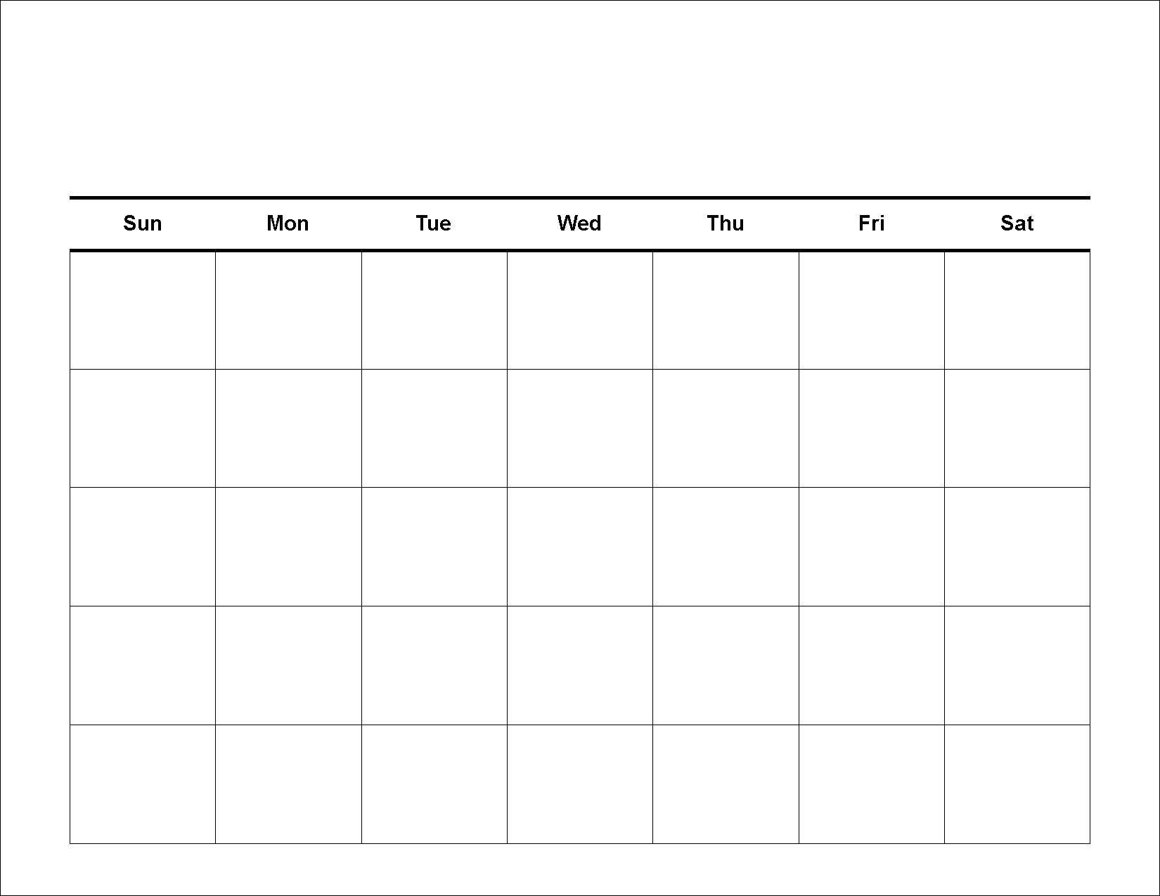 Calendar Template Large Boxes In 2020 | Free Blank Calendar