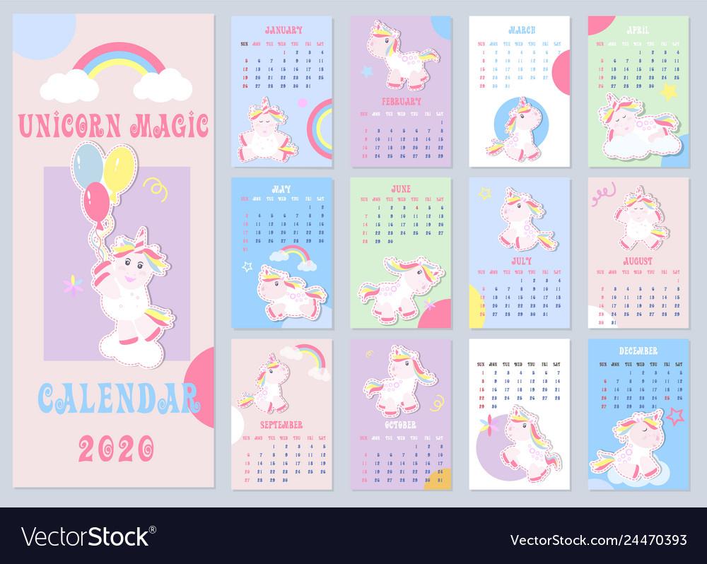 Calendar Template Unicorn Vector Images (45)