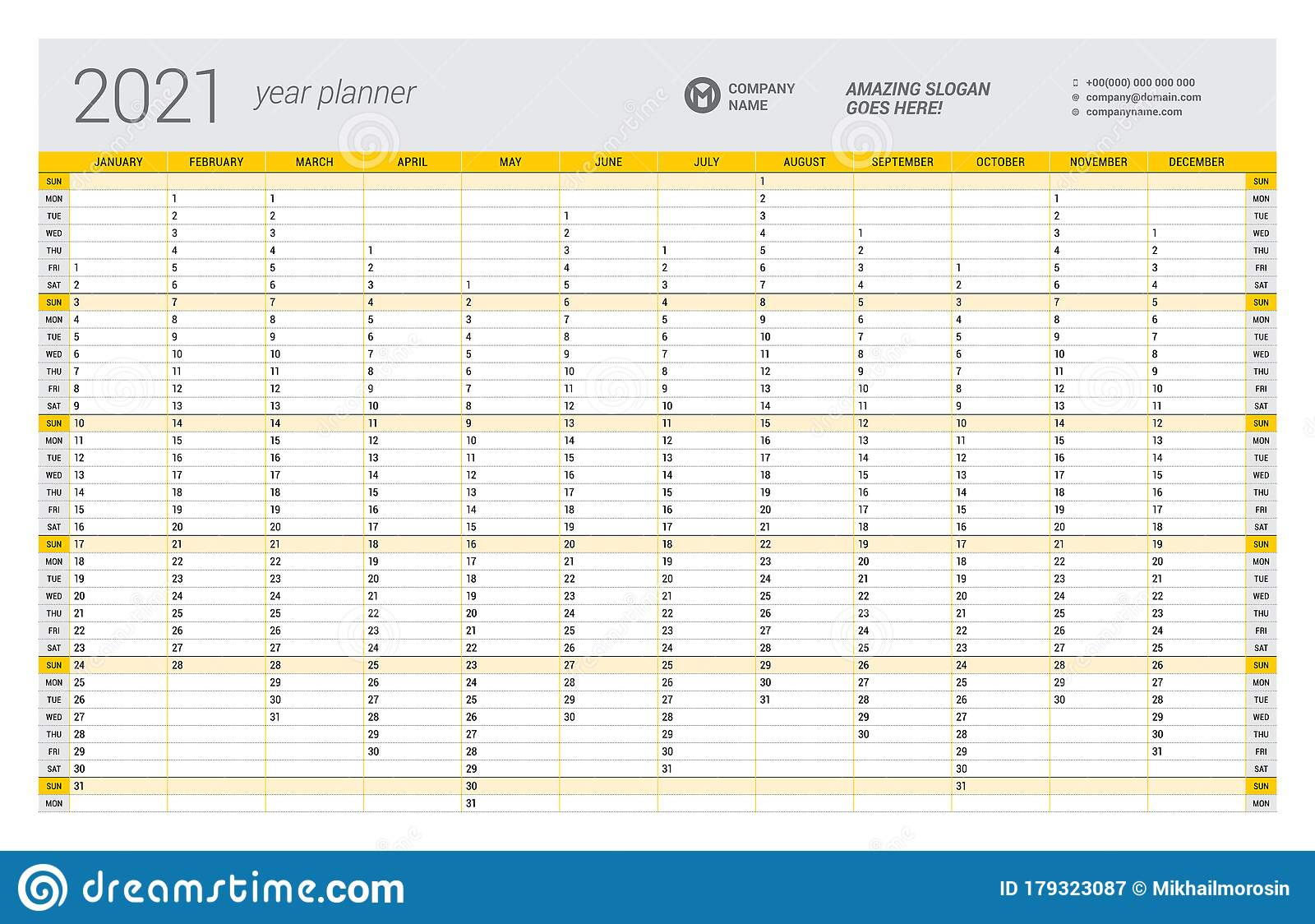 Calendar Yearly Planner Template For 2021. Printable