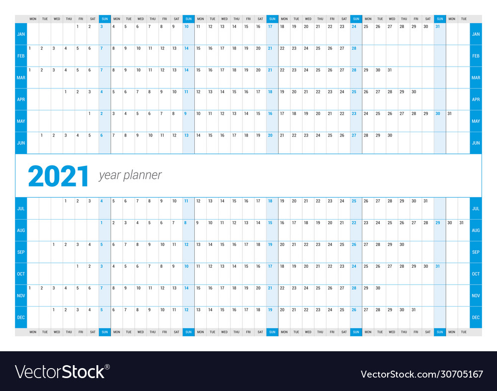 Calendar Yearly Planner Template For 2021 Vector Image