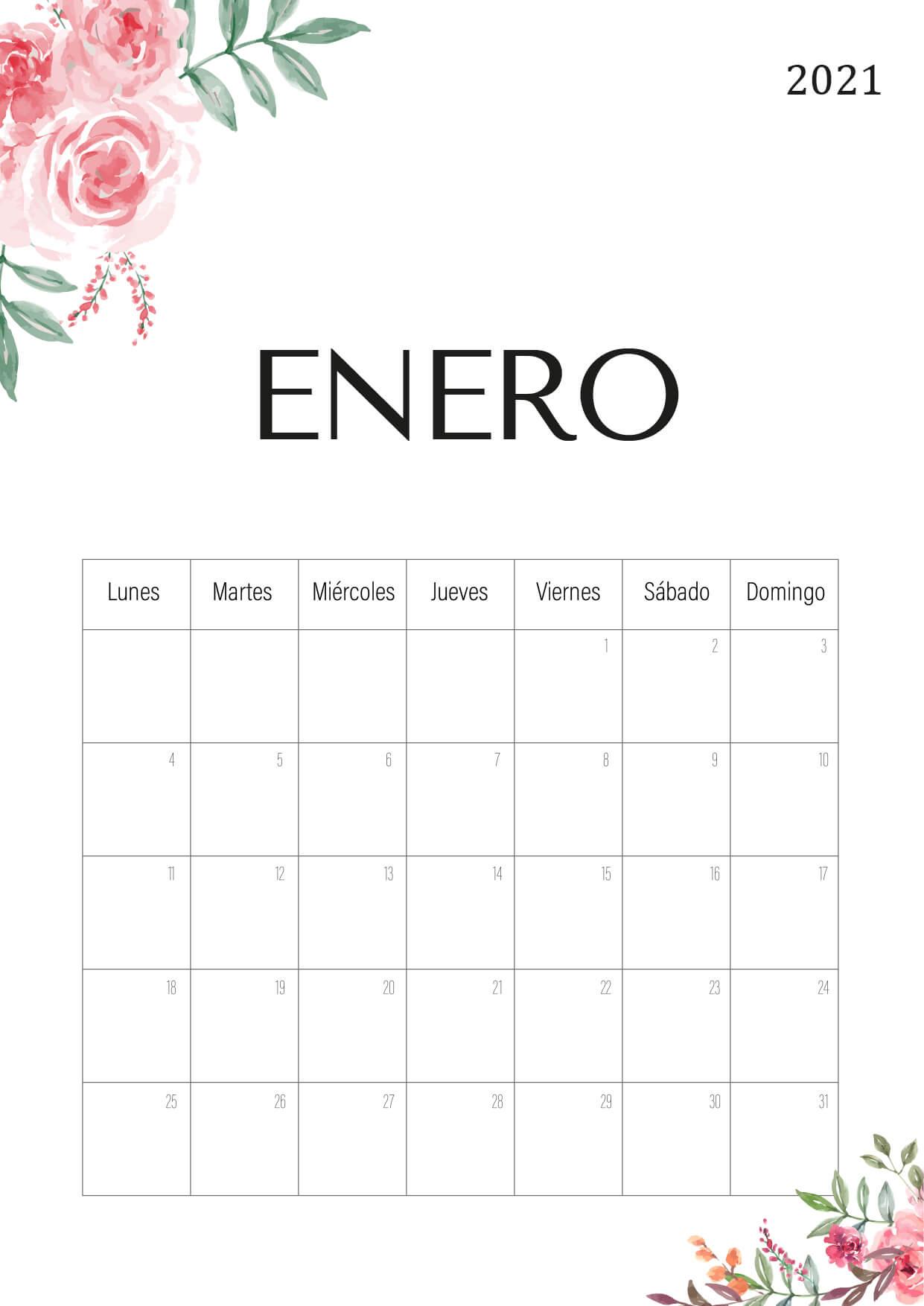 Calendario 2021 Pdf - Bonito Para Imprimir