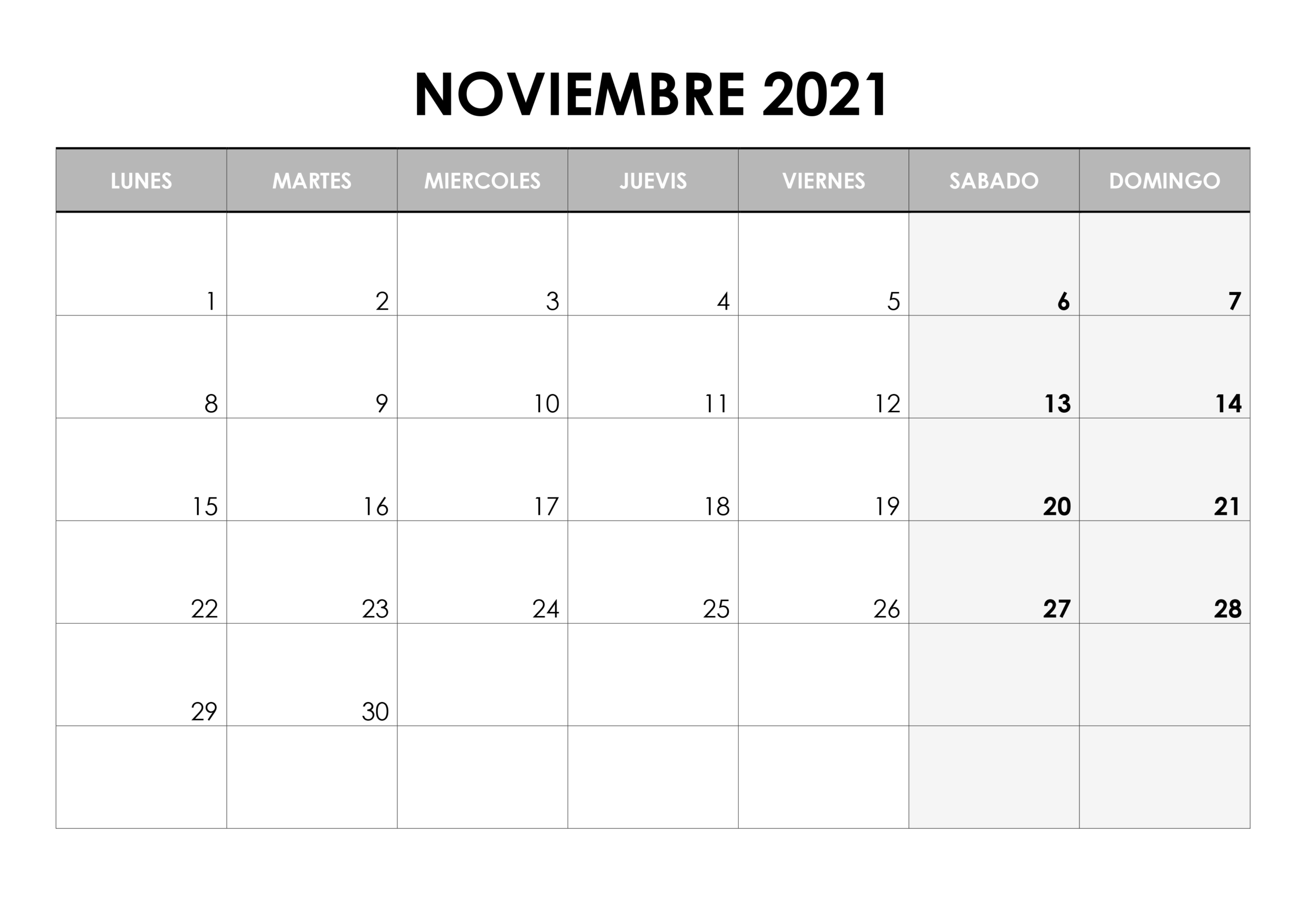 Calendario Noviembre 2021 – Calendarios.su