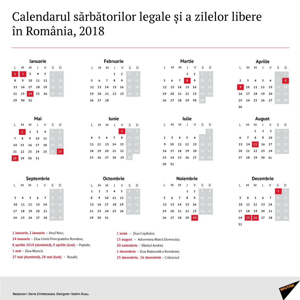 Calendarul Zilelor Libere În 2018 Decretate Prin Lege În