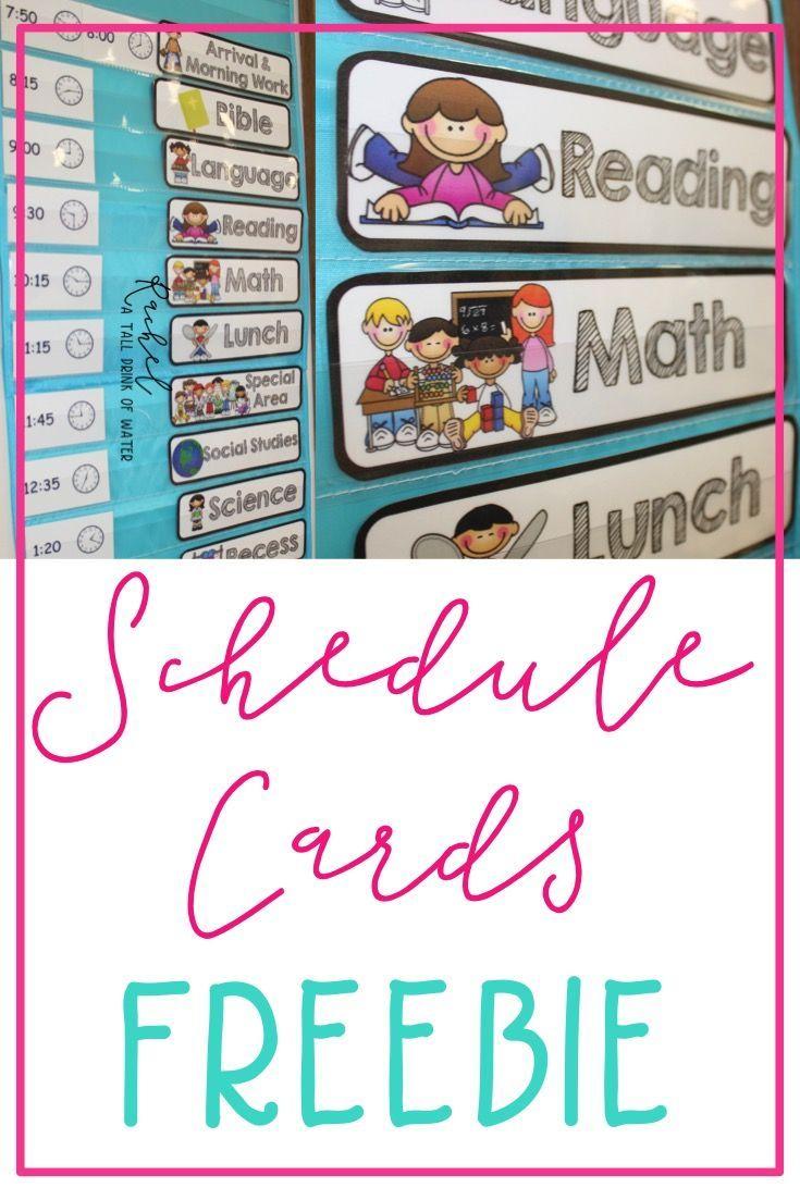 Classroom Schedule Cards Freebie | Classroom Schedule Cards