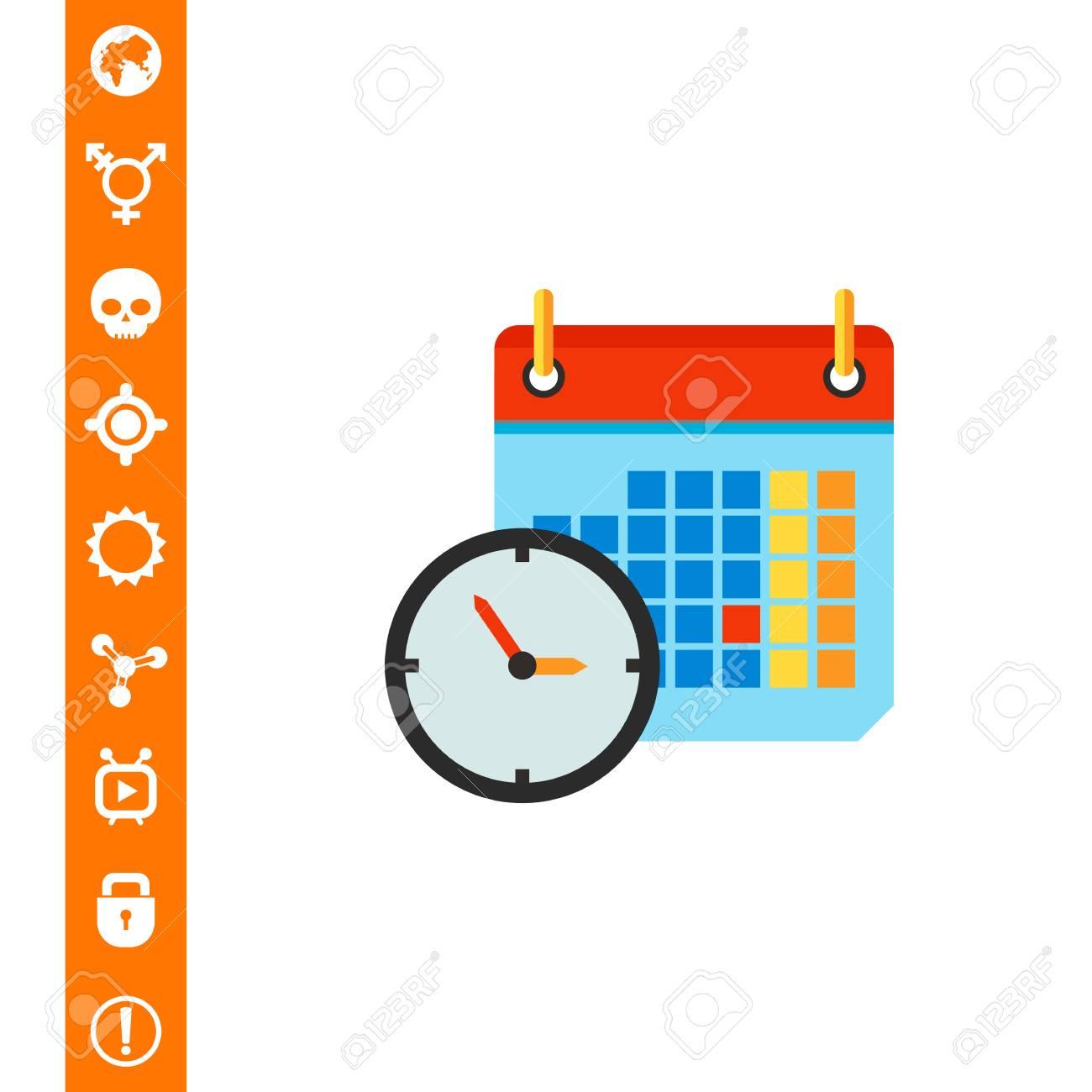 Clock And Calendar In Background. Time Shedule Date. Calendar..
