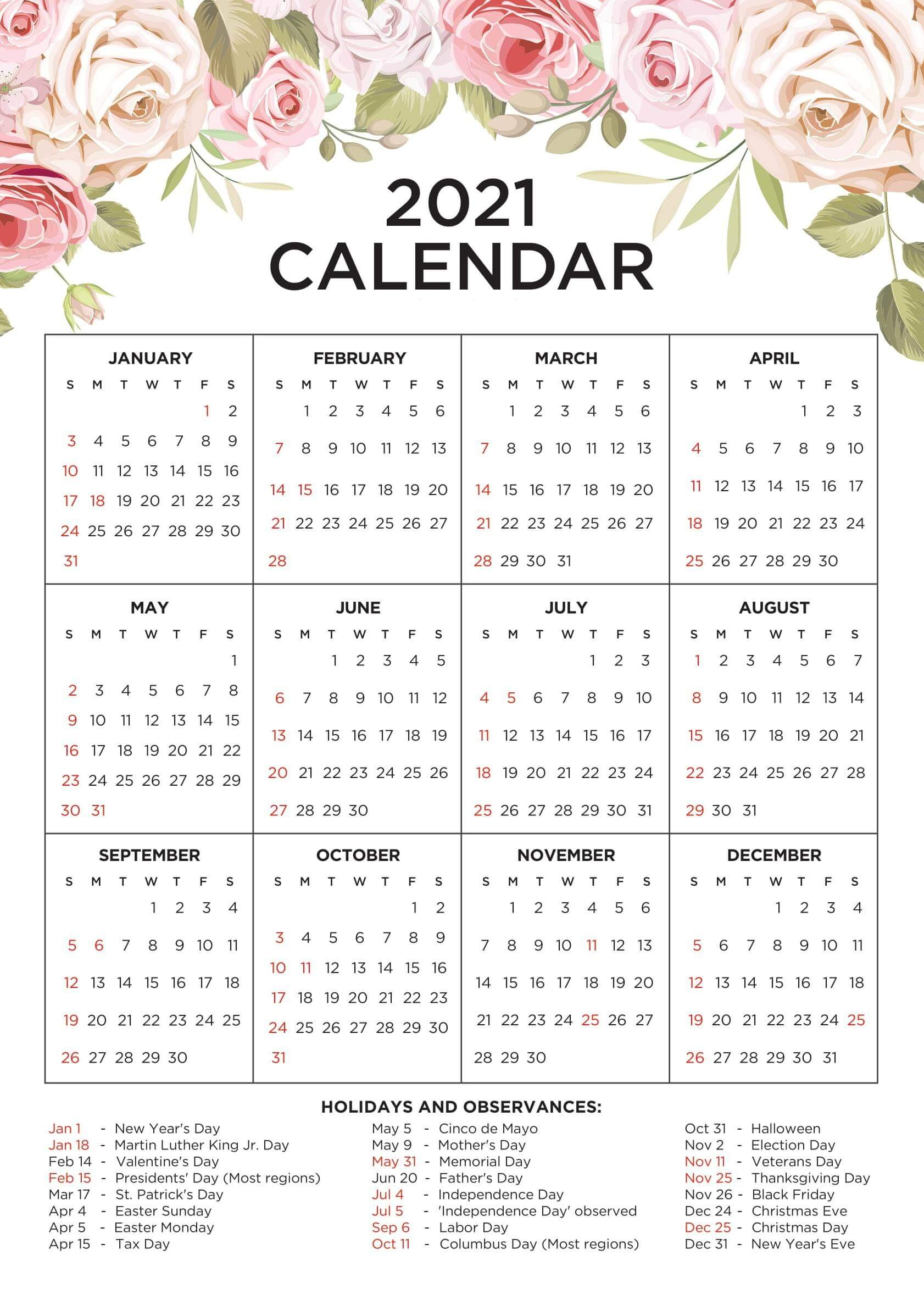 Cute Calendar 2021 Printable Template With Notes - Set Your