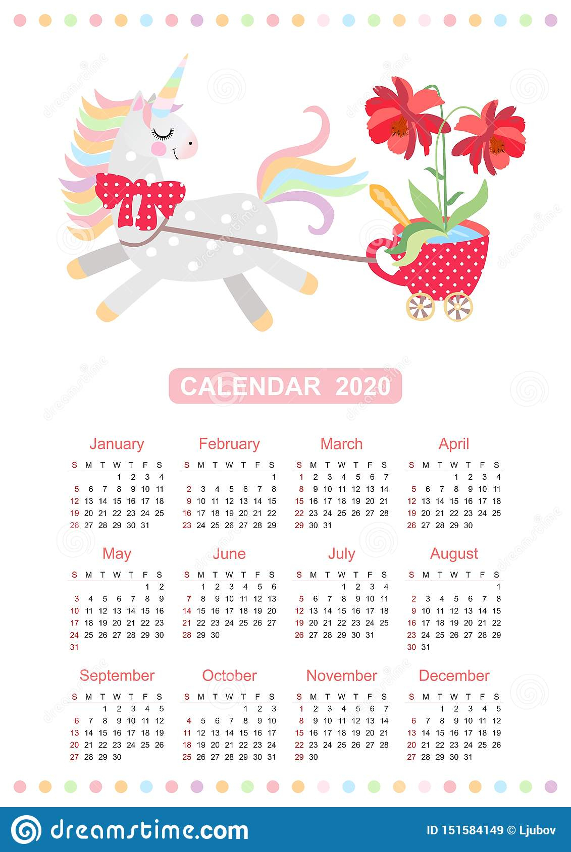 Cute Calendar For 2020 Year With Small Horse - Unicorn