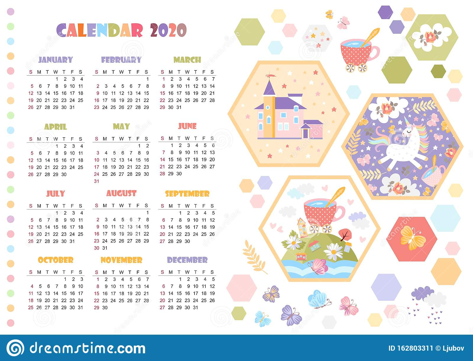 Cute Calendar For 2020 Year With Unicorn Magic Castle And